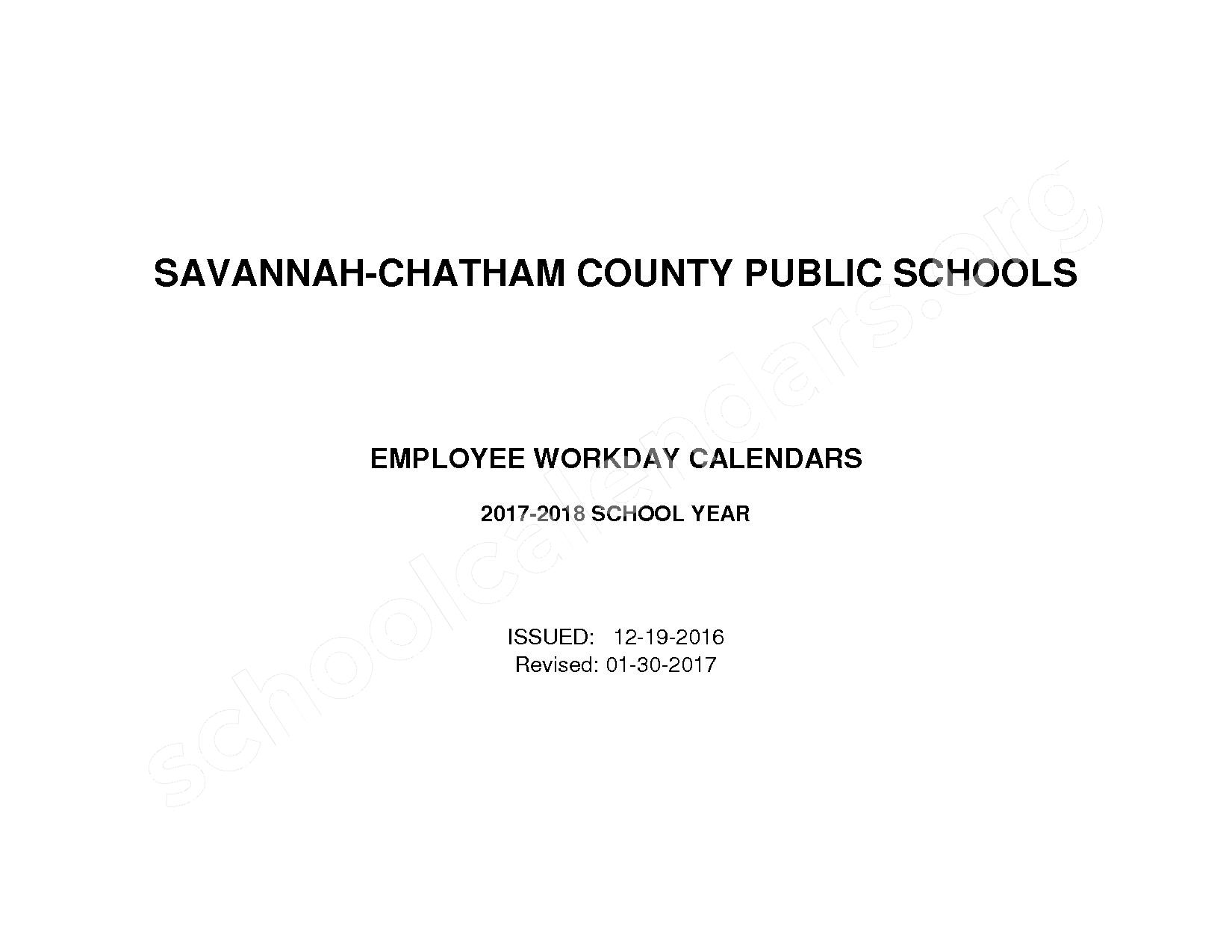 2017 - 2018 Employee Workday Calendar – Chatham County School District – page 1