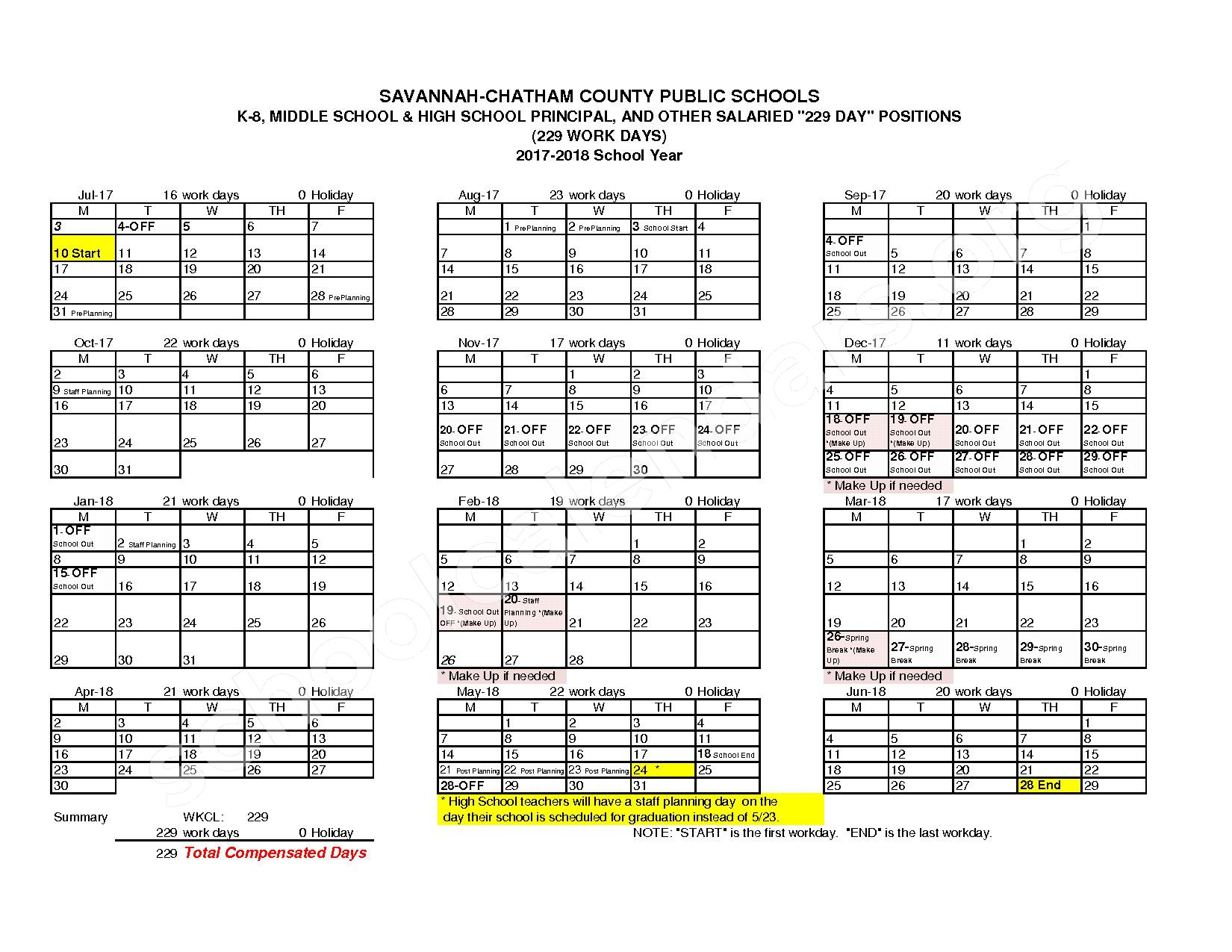 2017 - 2018 Employee Workday Calendar – Chatham County School District – page 3
