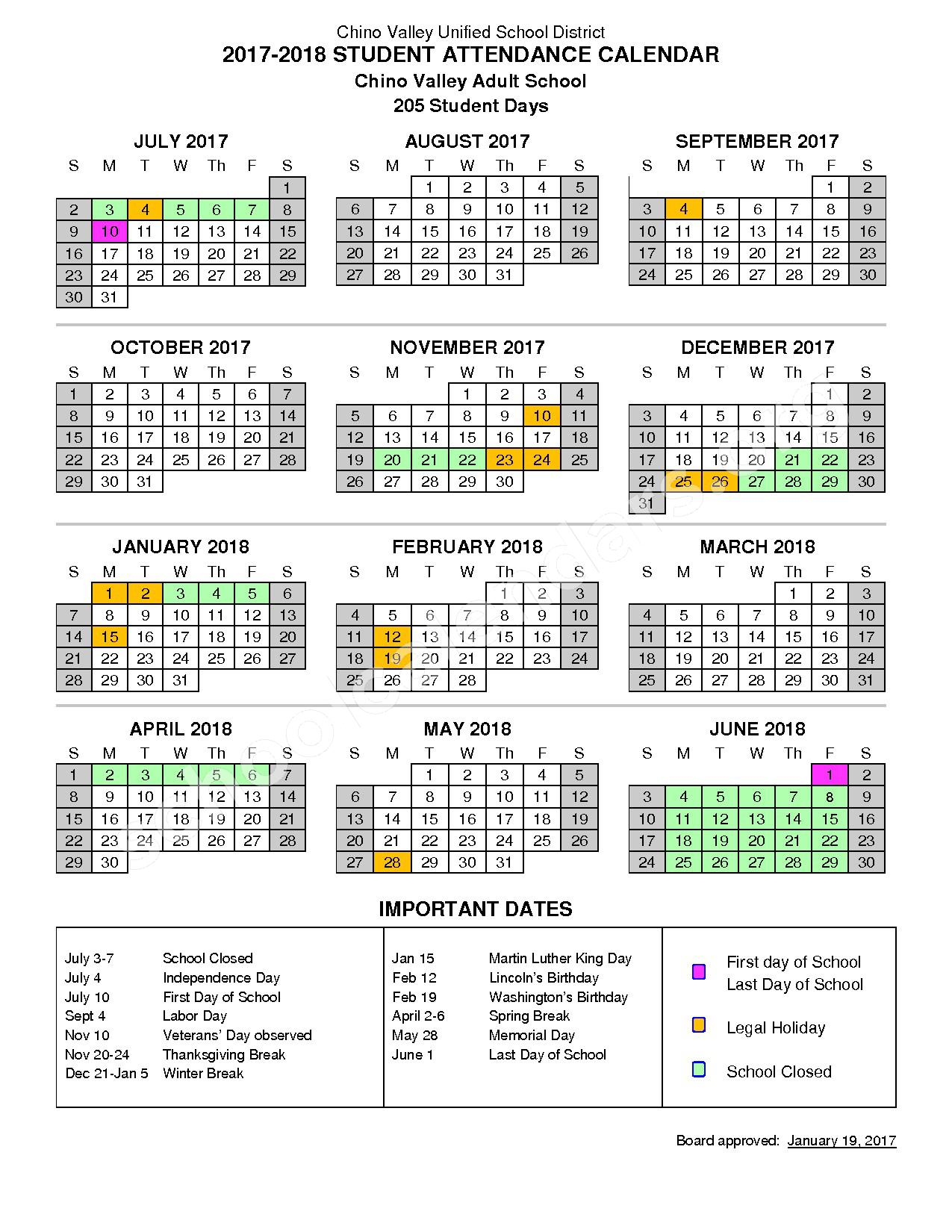 2017 - 2018 Adult School Calendar – Chino Valley Unified School District – page 1