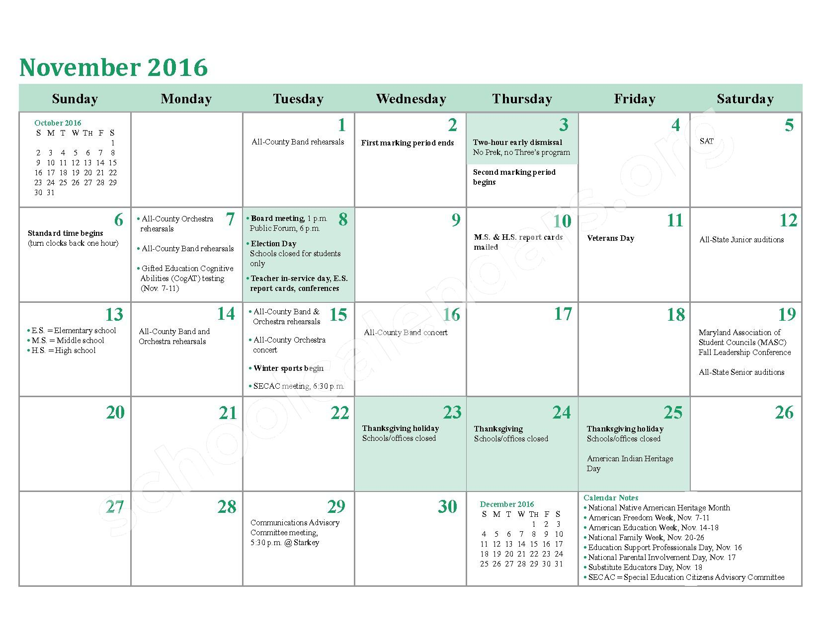 2016 - 2017 District Calendar – Charles County Public Schools – page 10