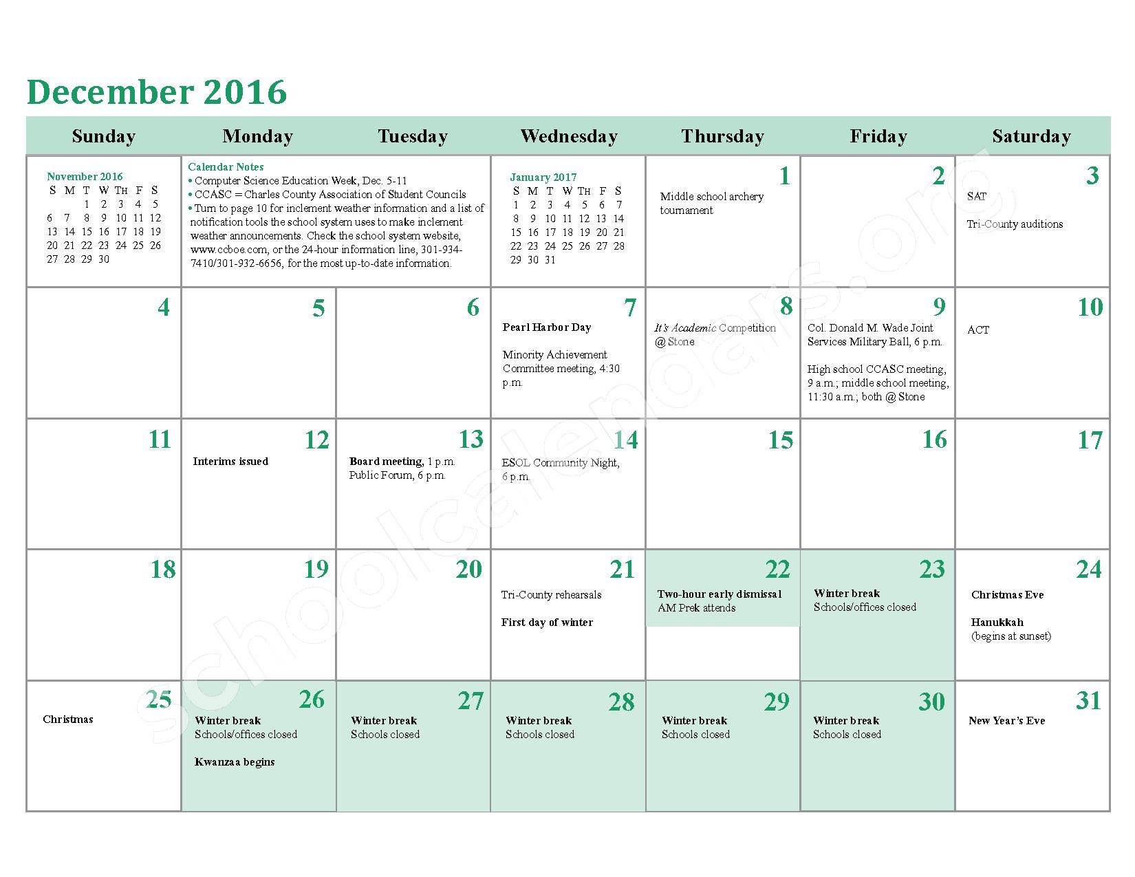 2016 - 2017 District Calendar – Charles County Public Schools – page 12