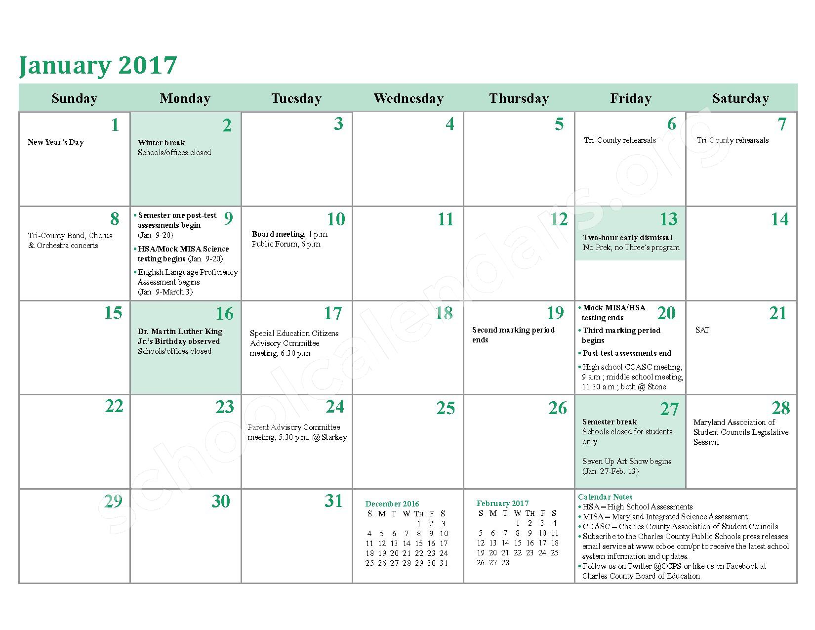 2016 - 2017 District Calendar – Charles County Public Schools – page 14