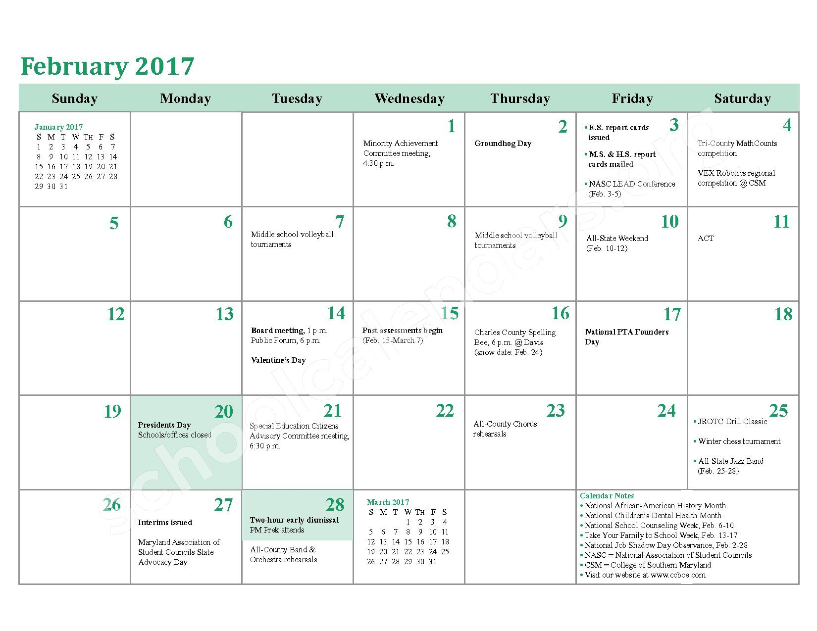 2016 - 2017 District Calendar – Charles County Public Schools – page 16