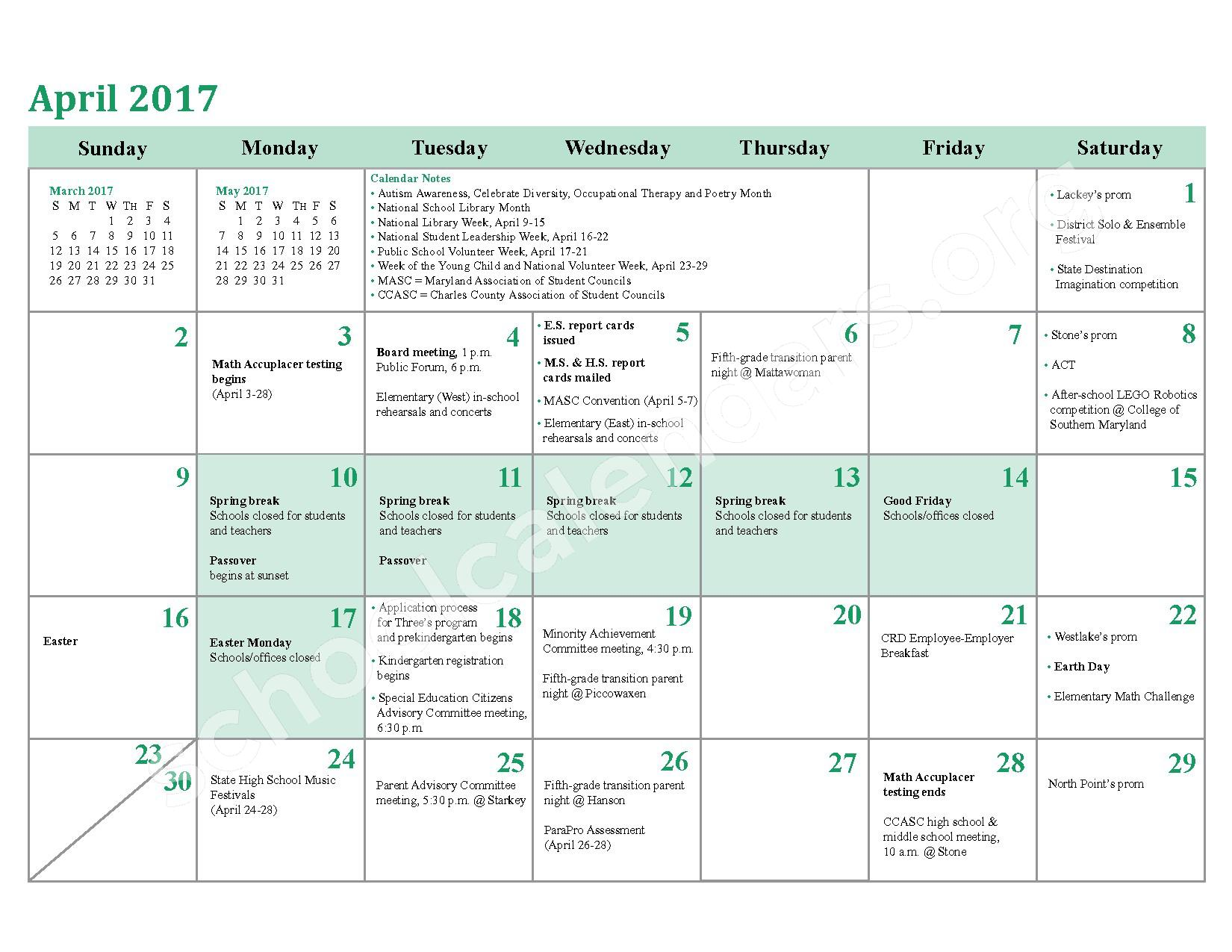 2016 - 2017 District Calendar – Charles County Public Schools – page 20