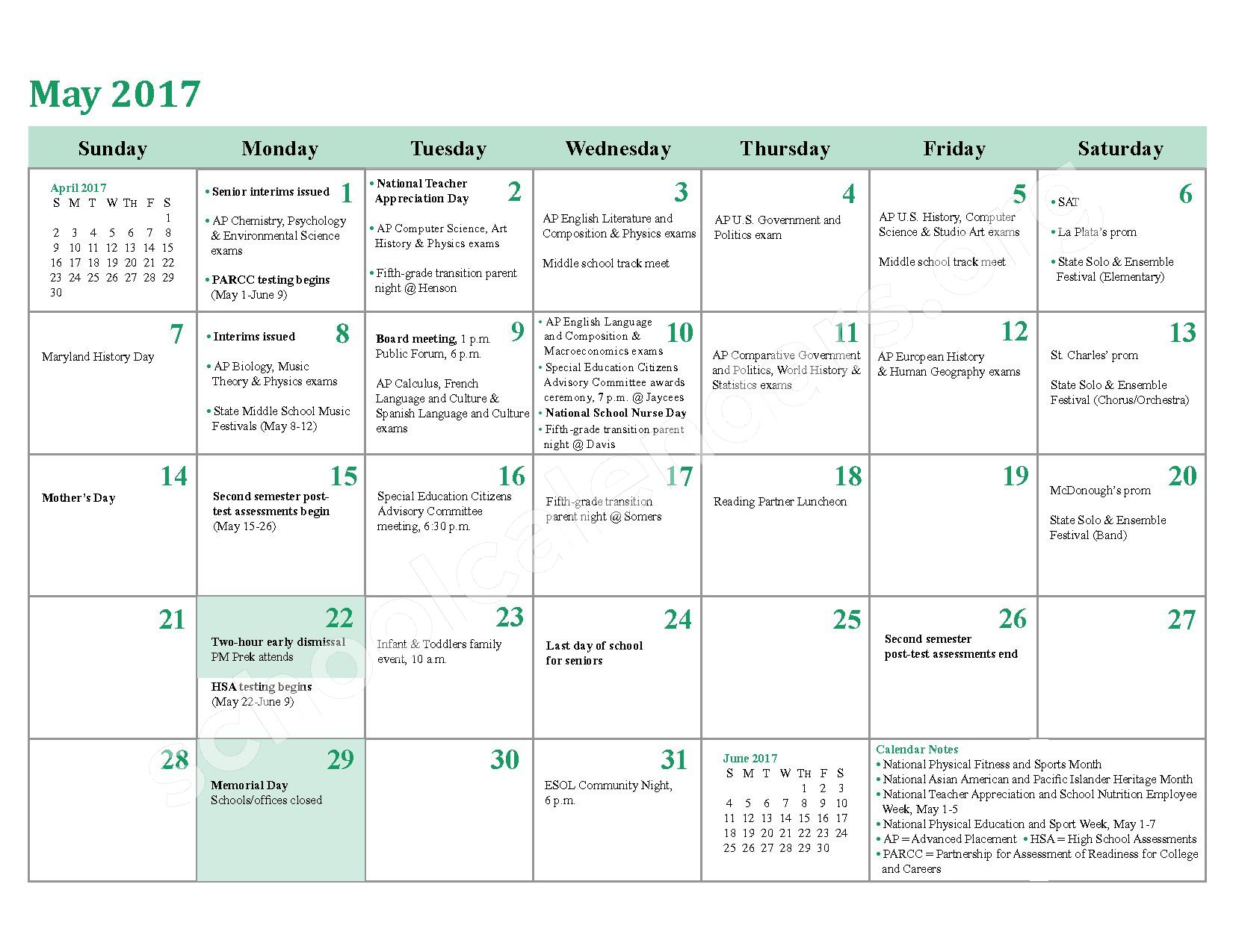 2016 - 2017 District Calendar – Charles County Public Schools – page 22