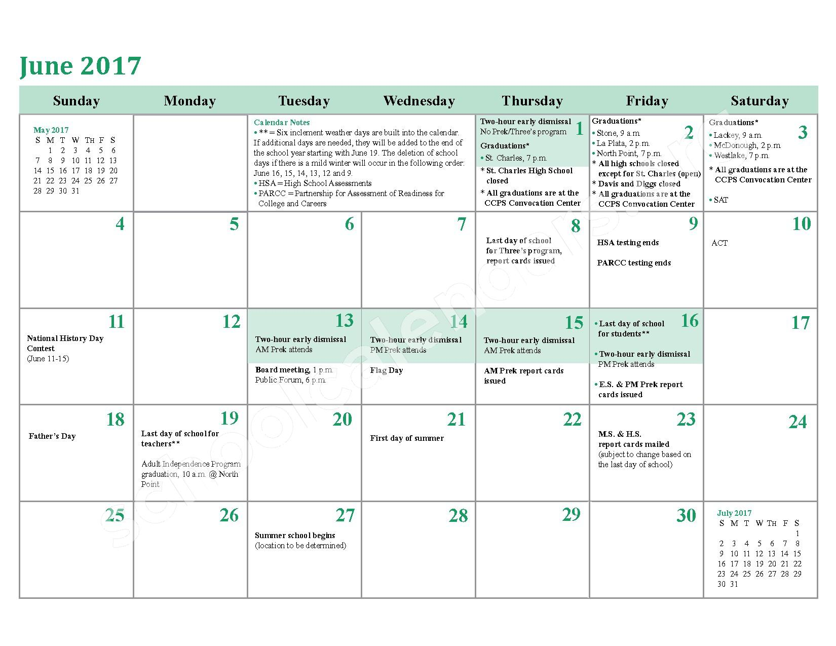 2016 - 2017 District Calendar – Charles County Public Schools – page 24