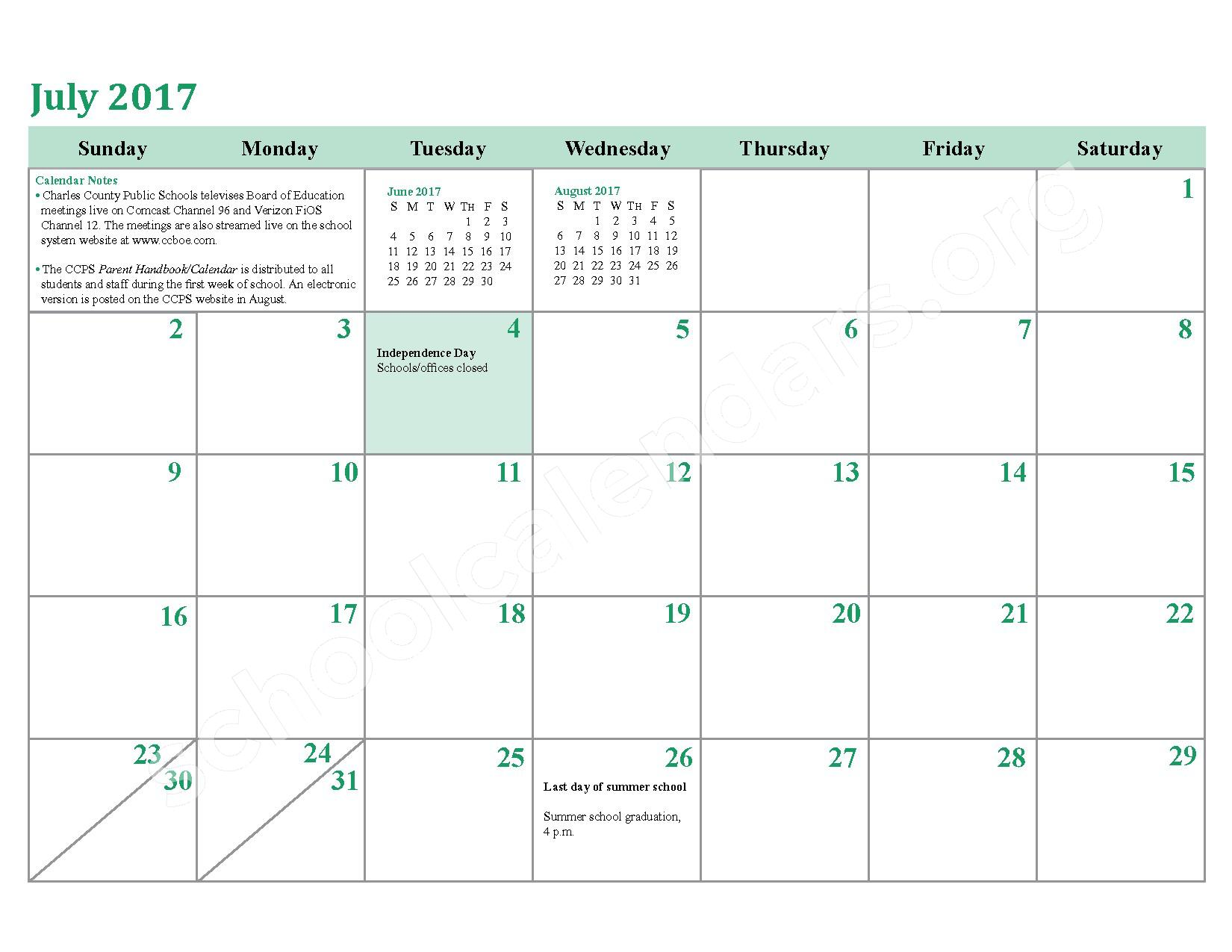 2016 - 2017 District Calendar – Charles County Public Schools – page 26