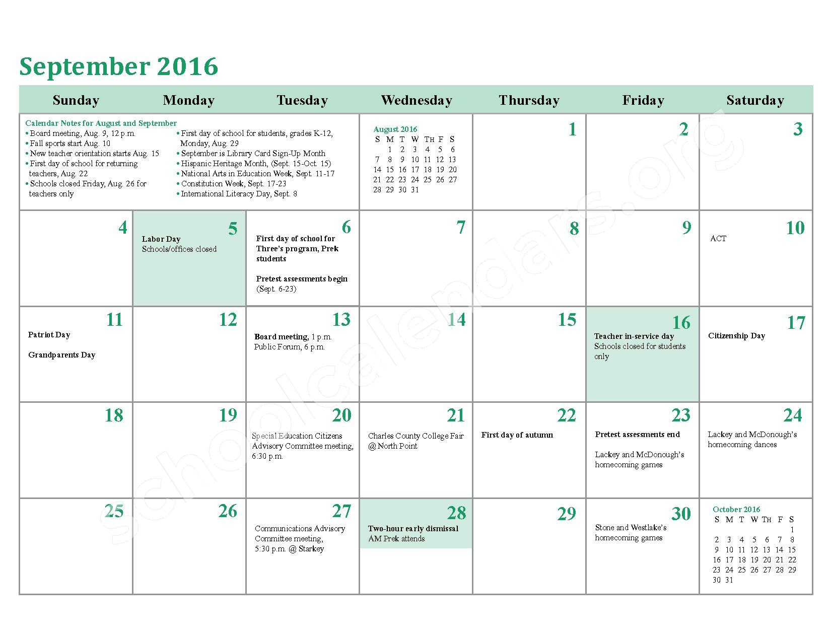 2016 - 2017 District Calendar – Charles County Public Schools – page 6