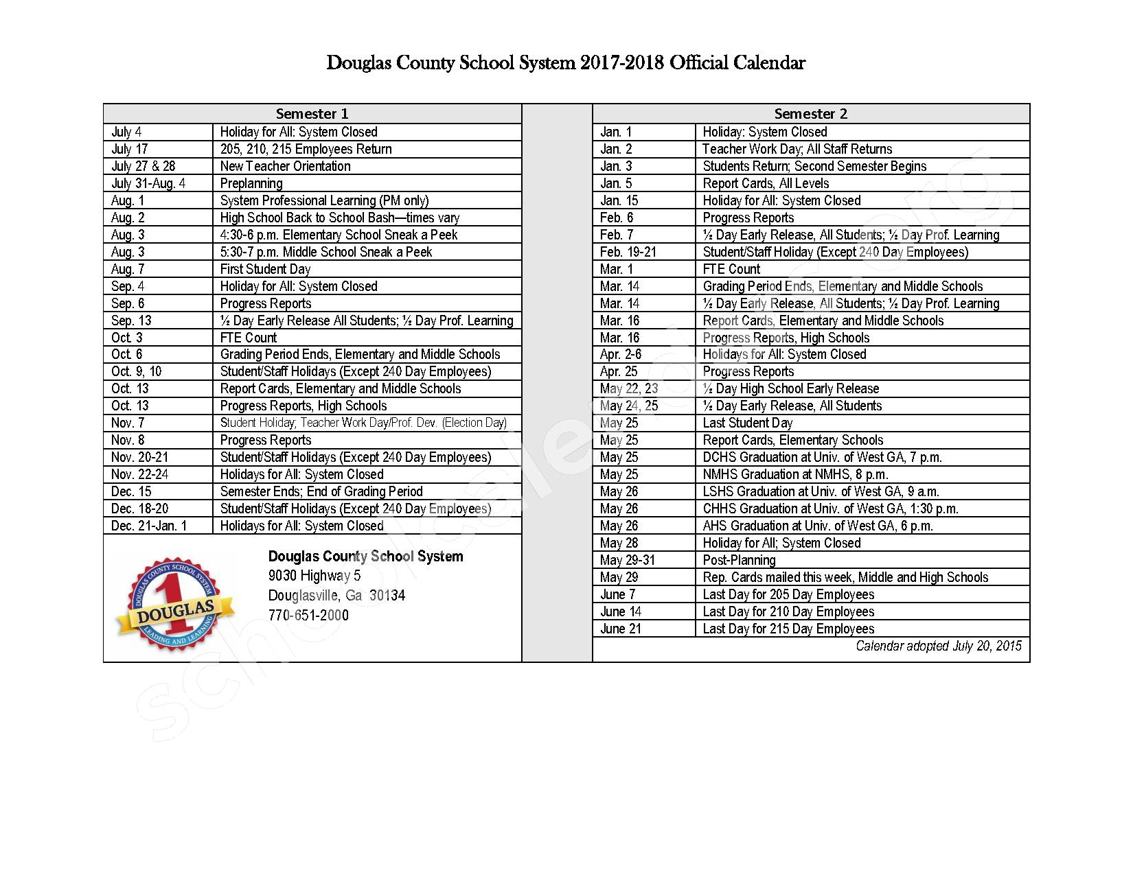 2017 - 2018 District Calendar – Douglas County School District – page 1