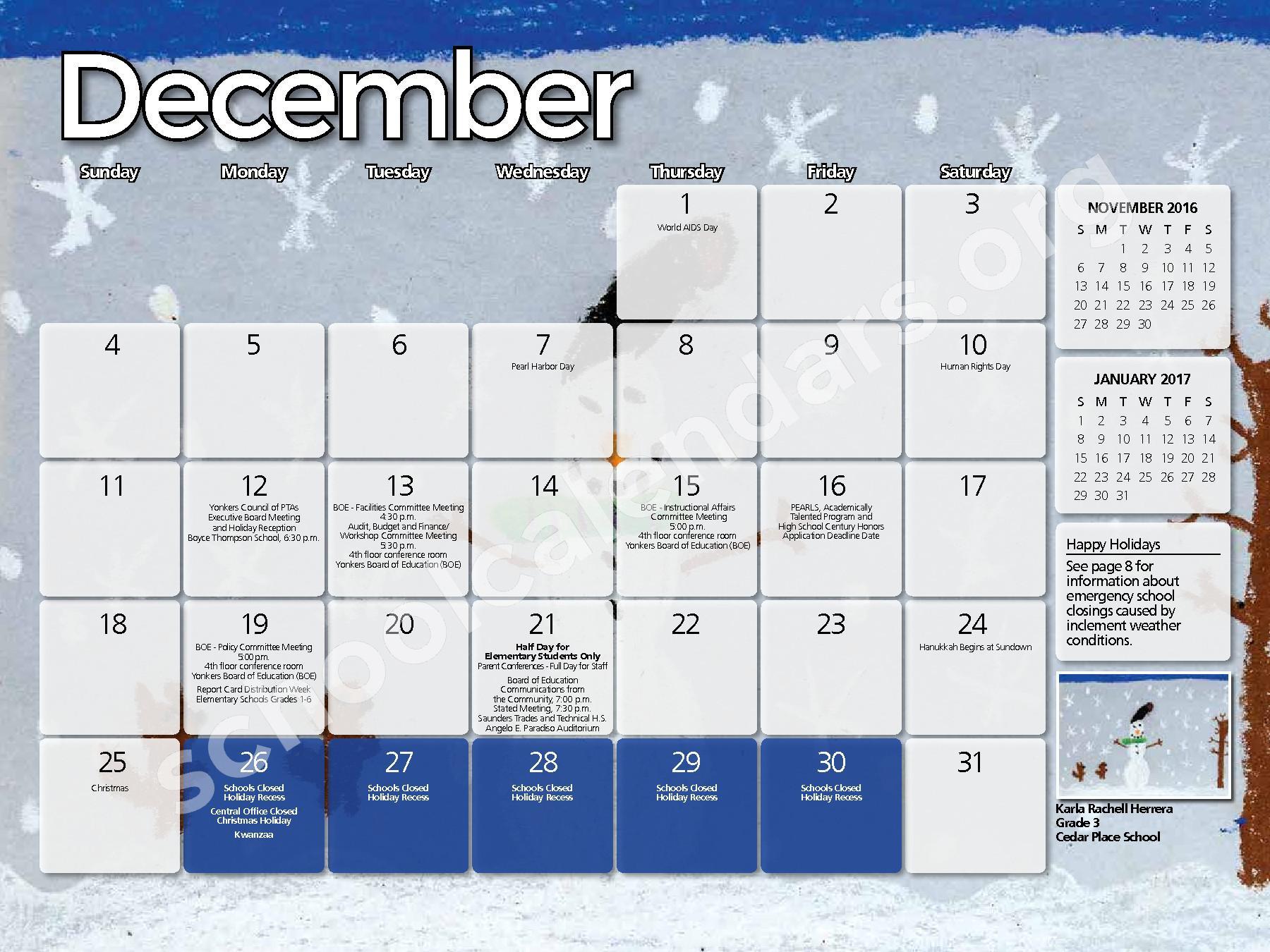 2017 - 2018 District Calendar – Yonkers City School District – page 11