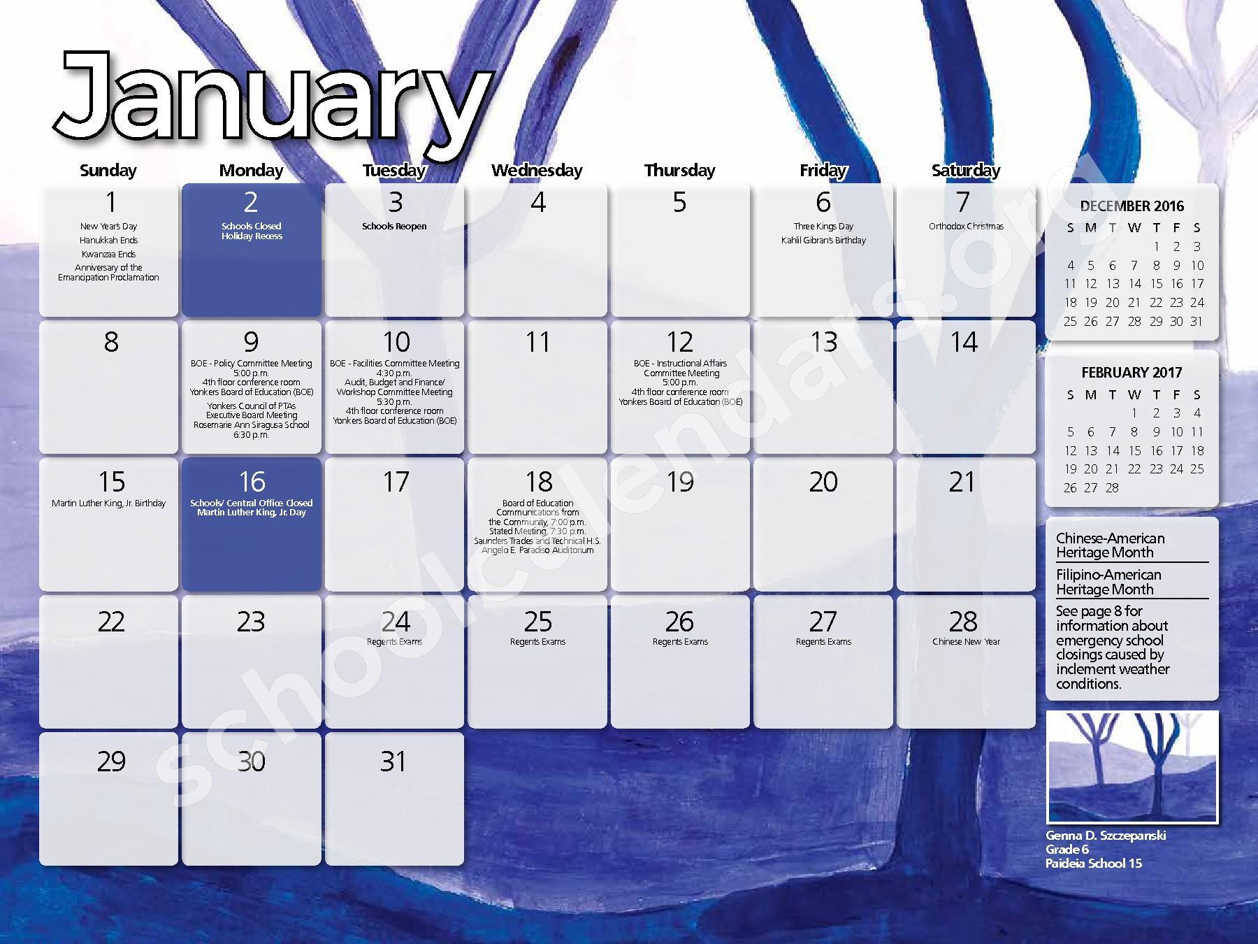 2017 - 2018 District Calendar – Yonkers City School District – page 13