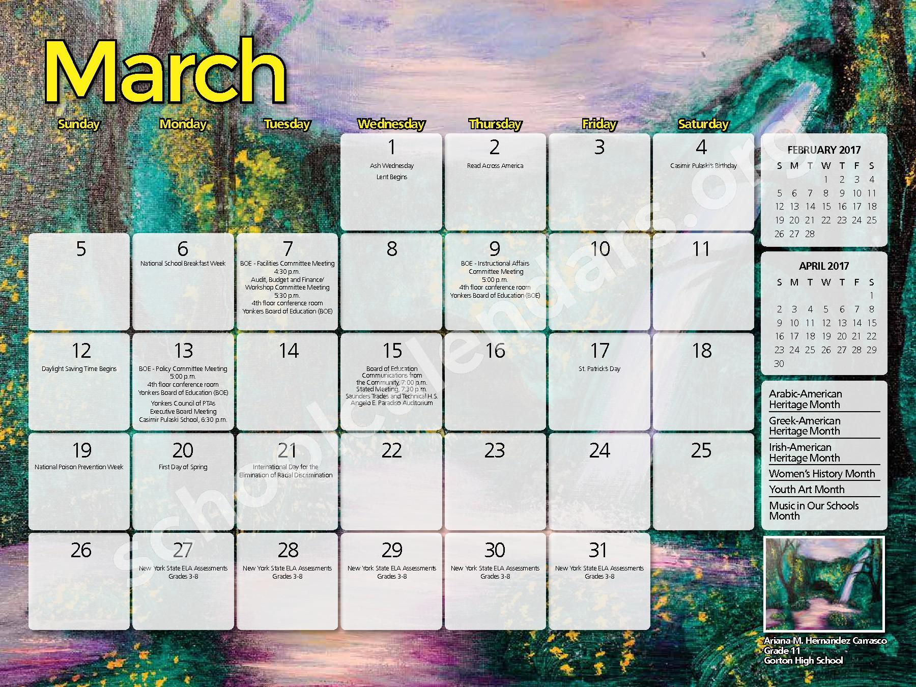2017 - 2018 District Calendar – Yonkers City School District – page 17
