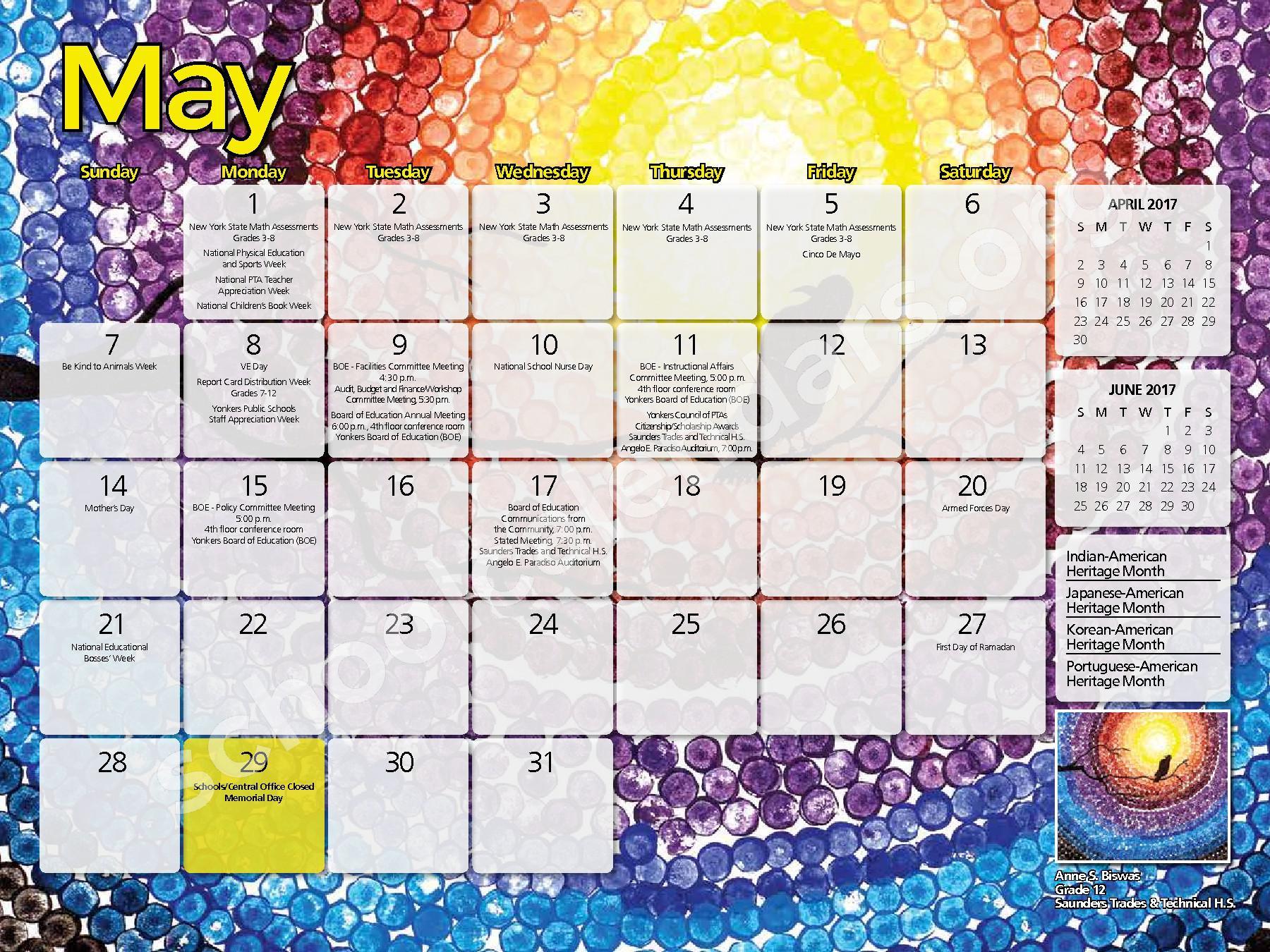 2017 - 2018 District Calendar – Yonkers City School District – page 21