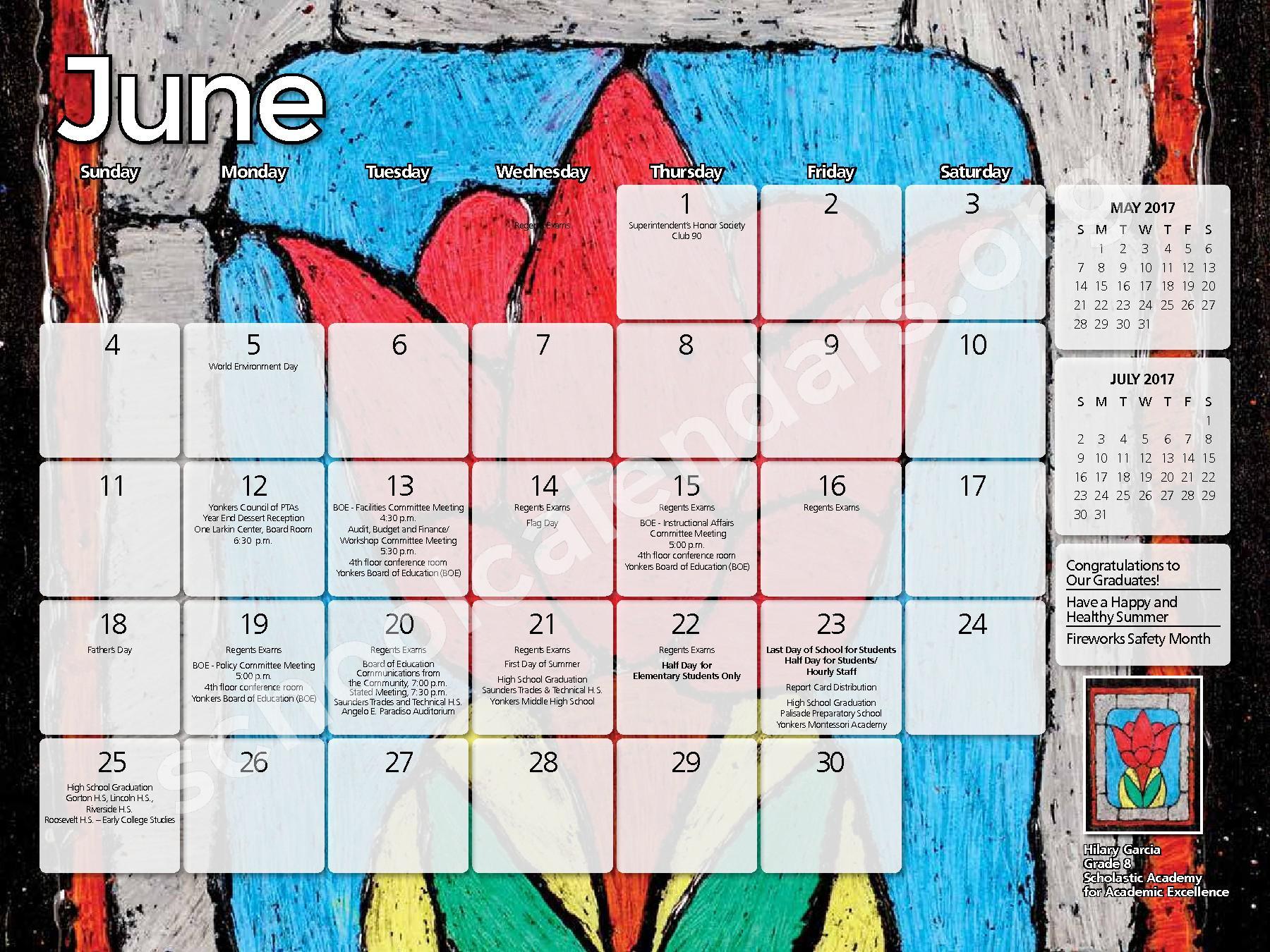 2017 - 2018 District Calendar – Yonkers City School District – page 23