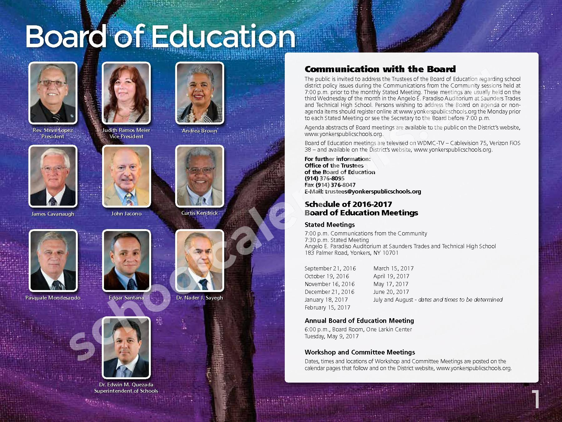 2017 - 2018 District Calendar – Yonkers City School District – page 3