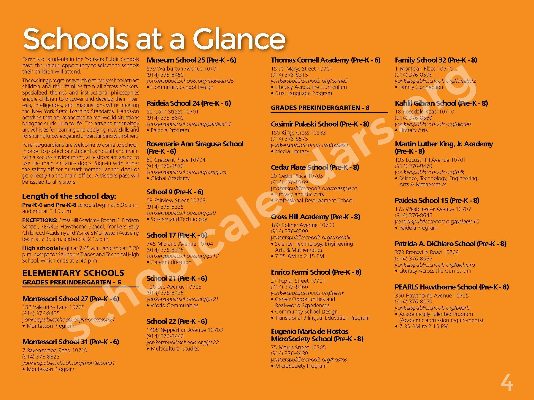 2017 - 2018 District Calendar – Yonkers City School District – page 6