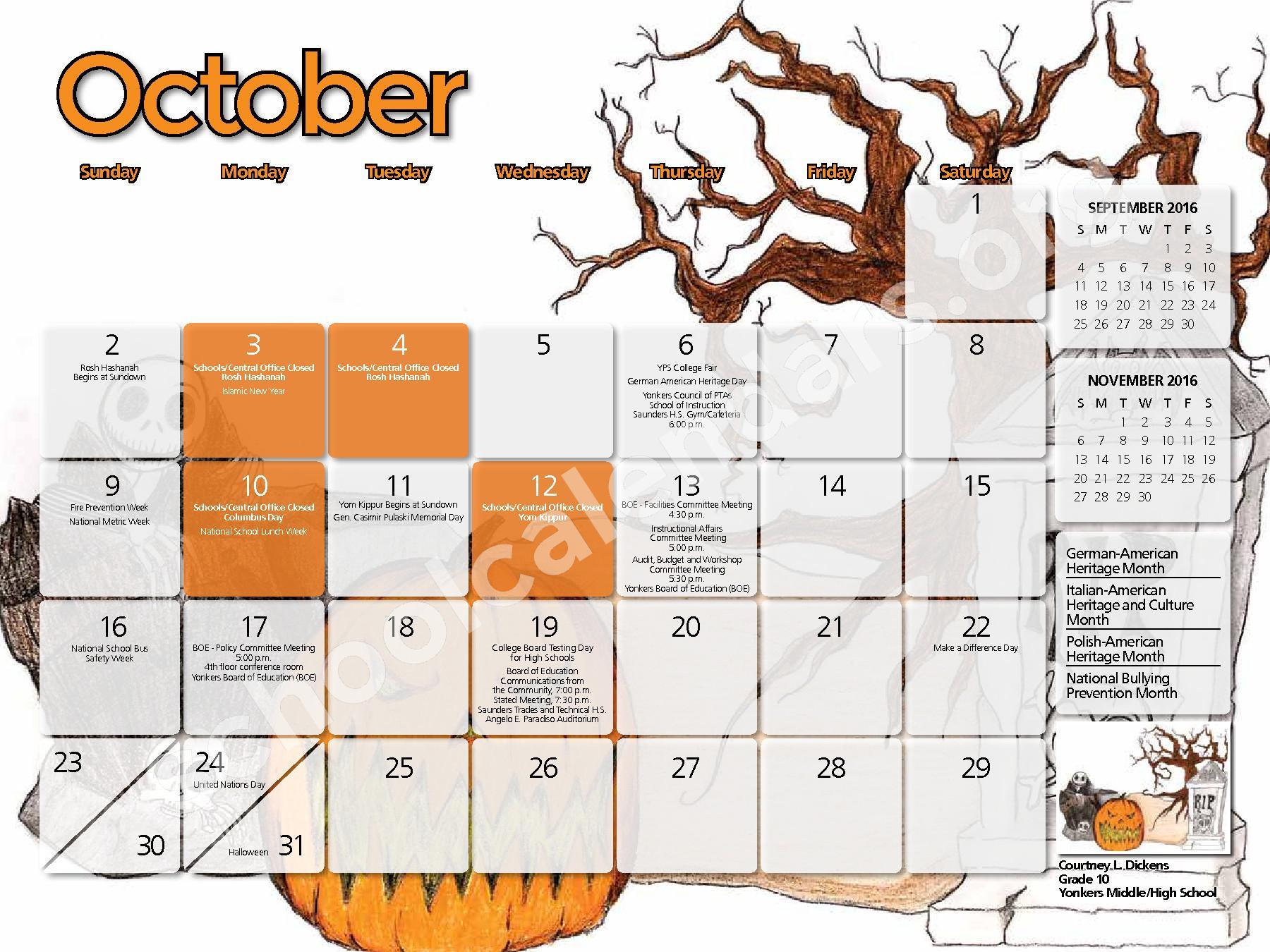 2017 - 2018 District Calendar – Yonkers City School District – page 7