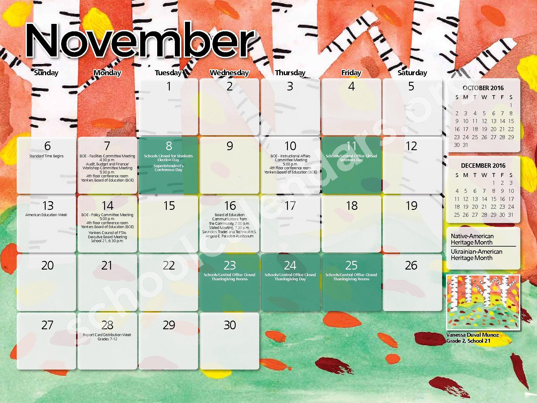 2017 - 2018 District Calendar – Yonkers City School District – page 9