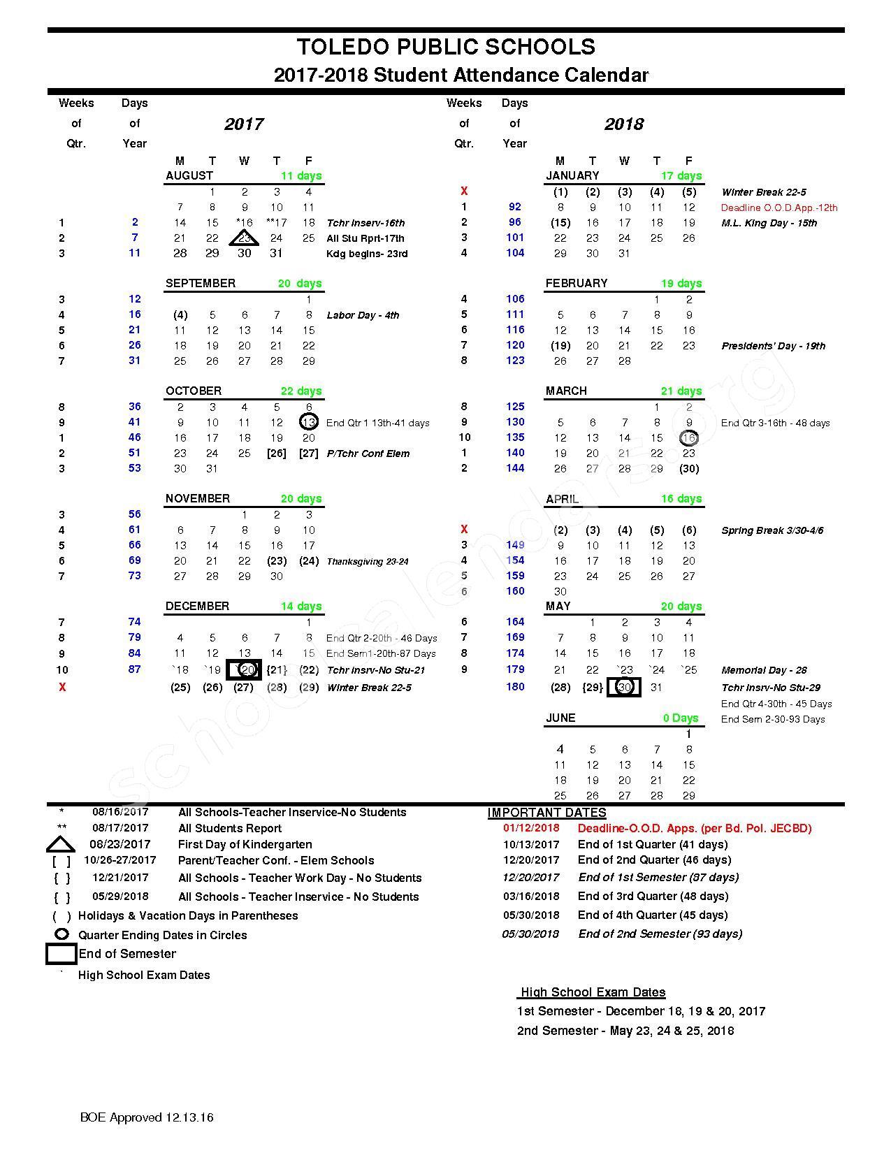 2017 - 2018 School Calendar – Toledo Public Schools – page 1