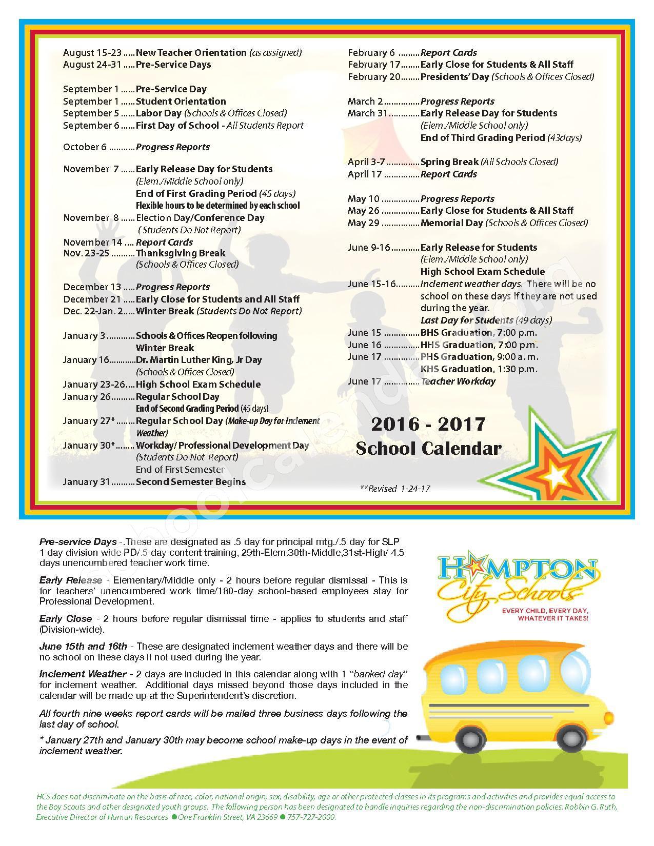 2016 - 2017 District Calendar – Hampton Public Schools – page 1