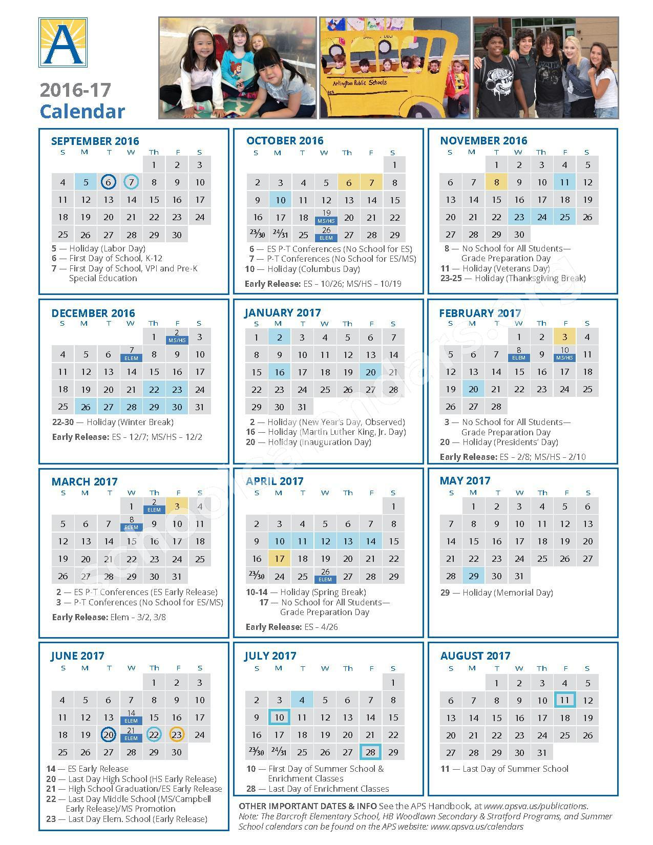 2016 - 2017 School Calendar / Calendario Escolar – Arlington County Public Schools – page 1
