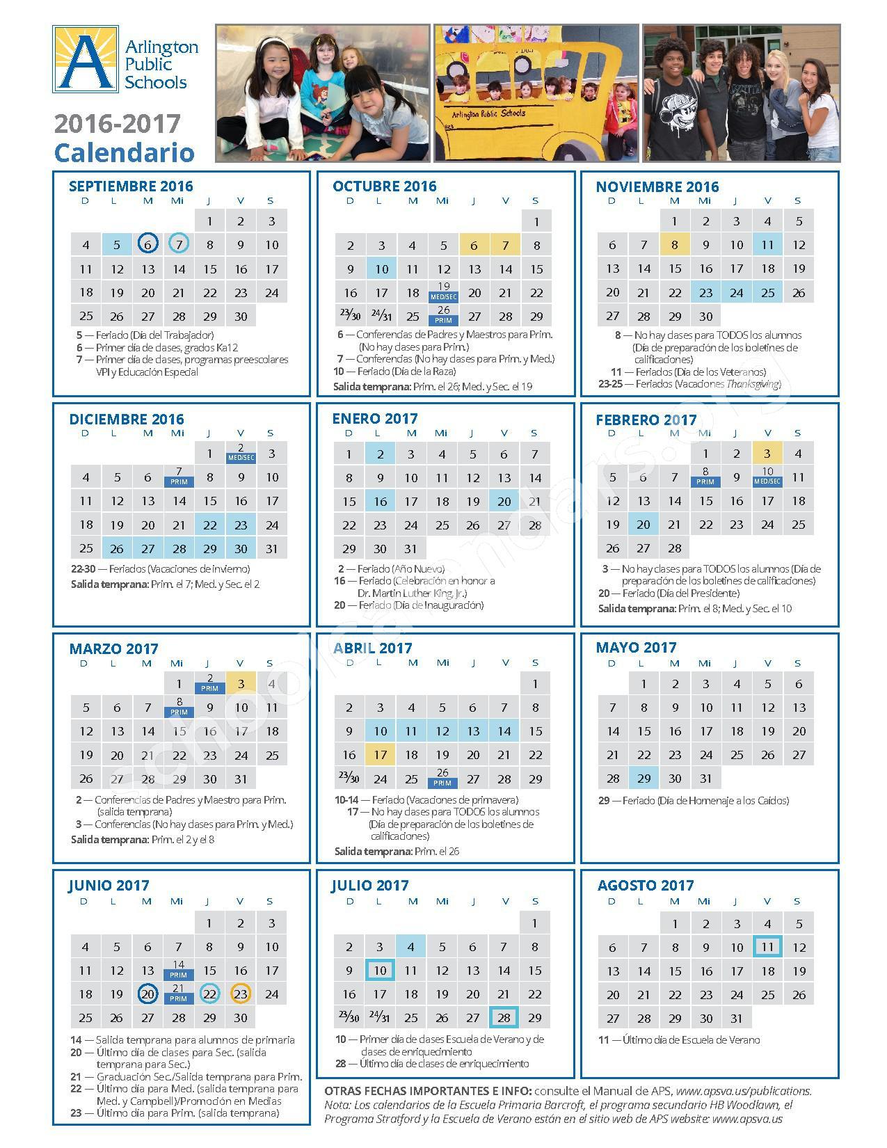 2016 - 2017 School Calendar / Calendario Escolar – Arlington County Public Schools – page 2