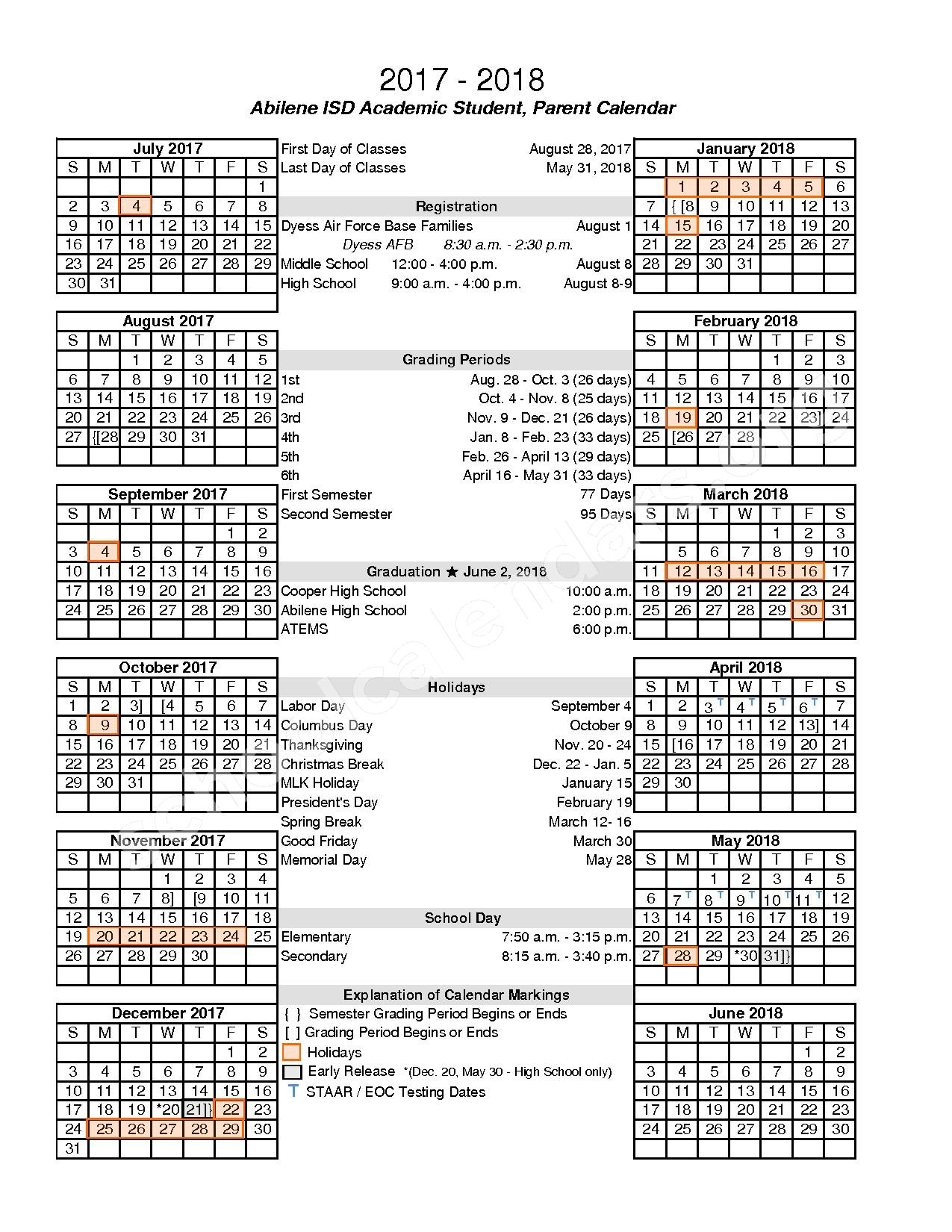 2017 - 2018 District Calendar – Abilene Independent School District – page 1