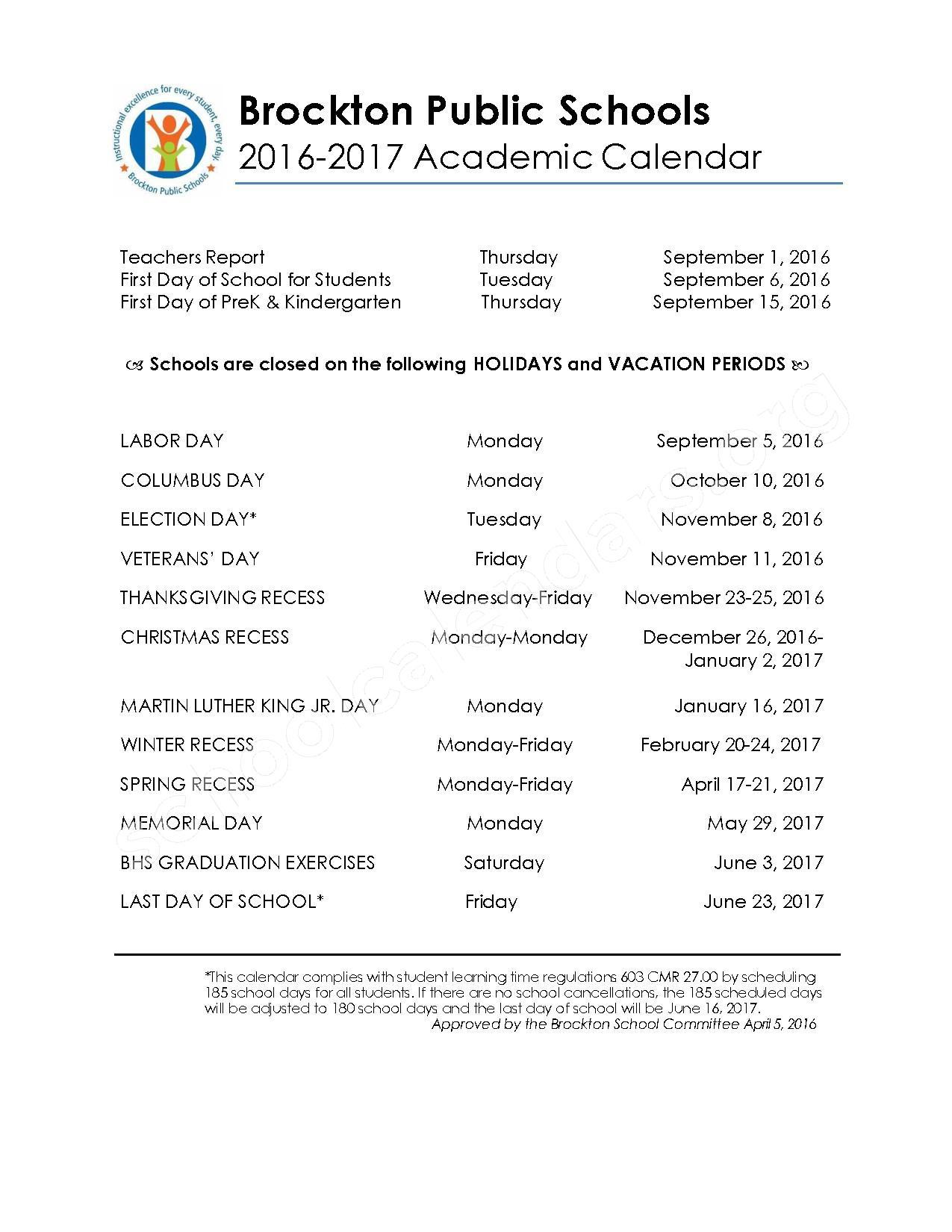 2016 - 2017 Academic & Supplemental Calendar – Brockton Public Schools – page 1