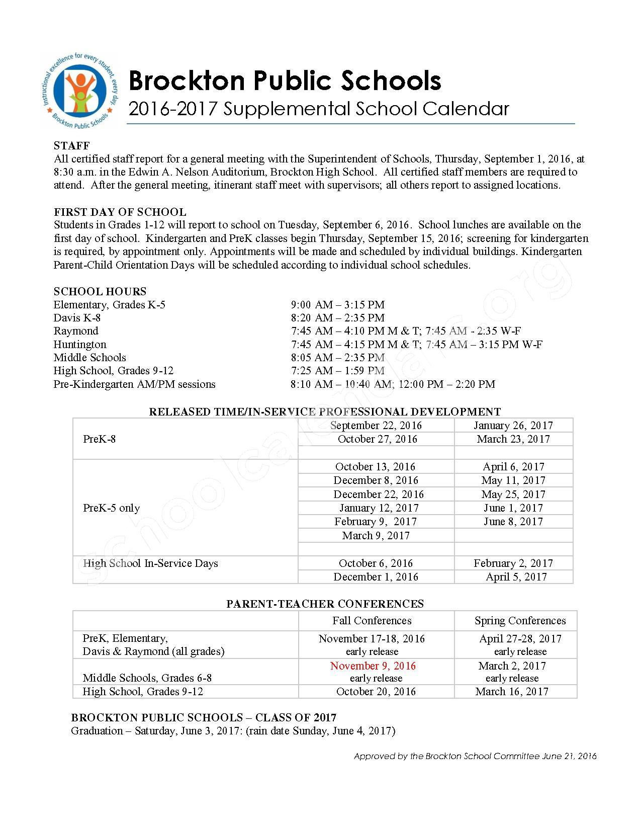 2016 - 2017 Academic & Supplemental Calendar – Brockton Public Schools – page 2