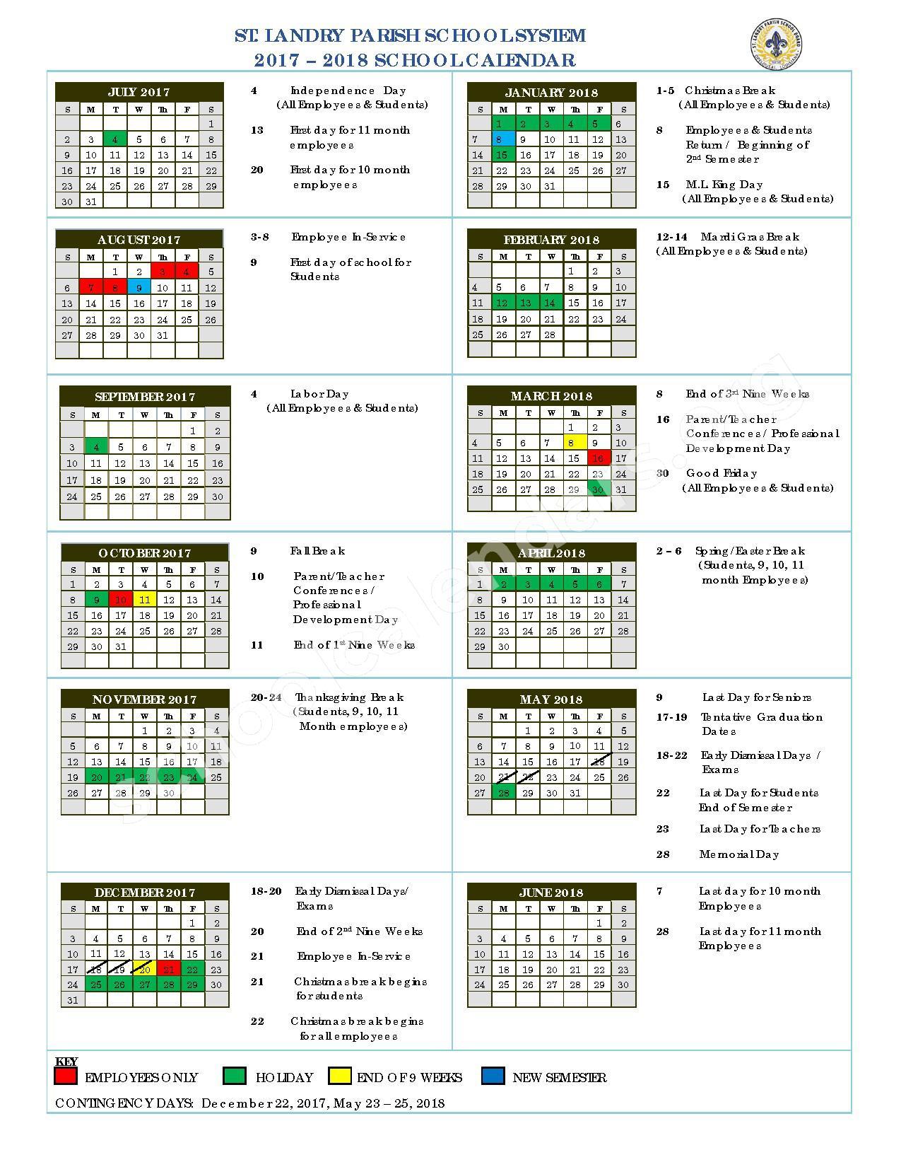 2017 - 2018 Academic Calendar – St. Landry Parish School Board – page 1