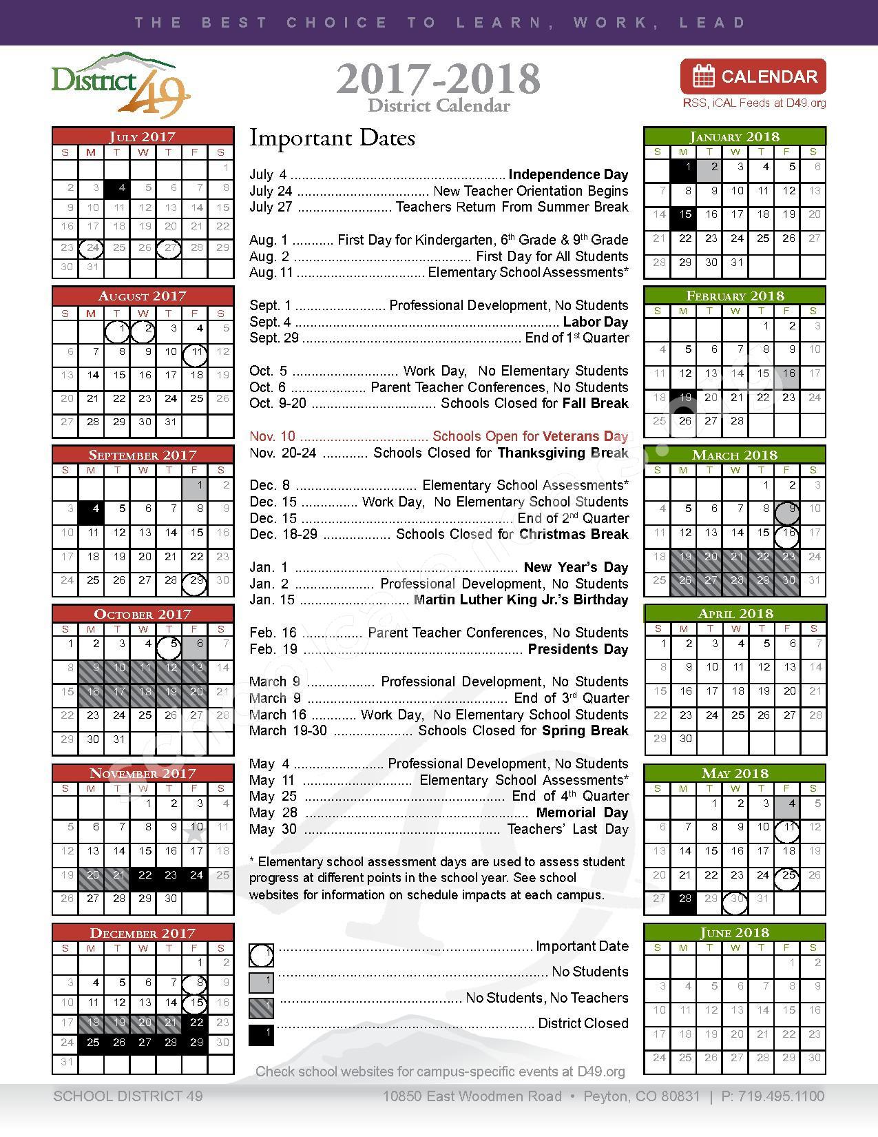 2017 - 2018 District Calendar – Falcon School District 49 – page 1