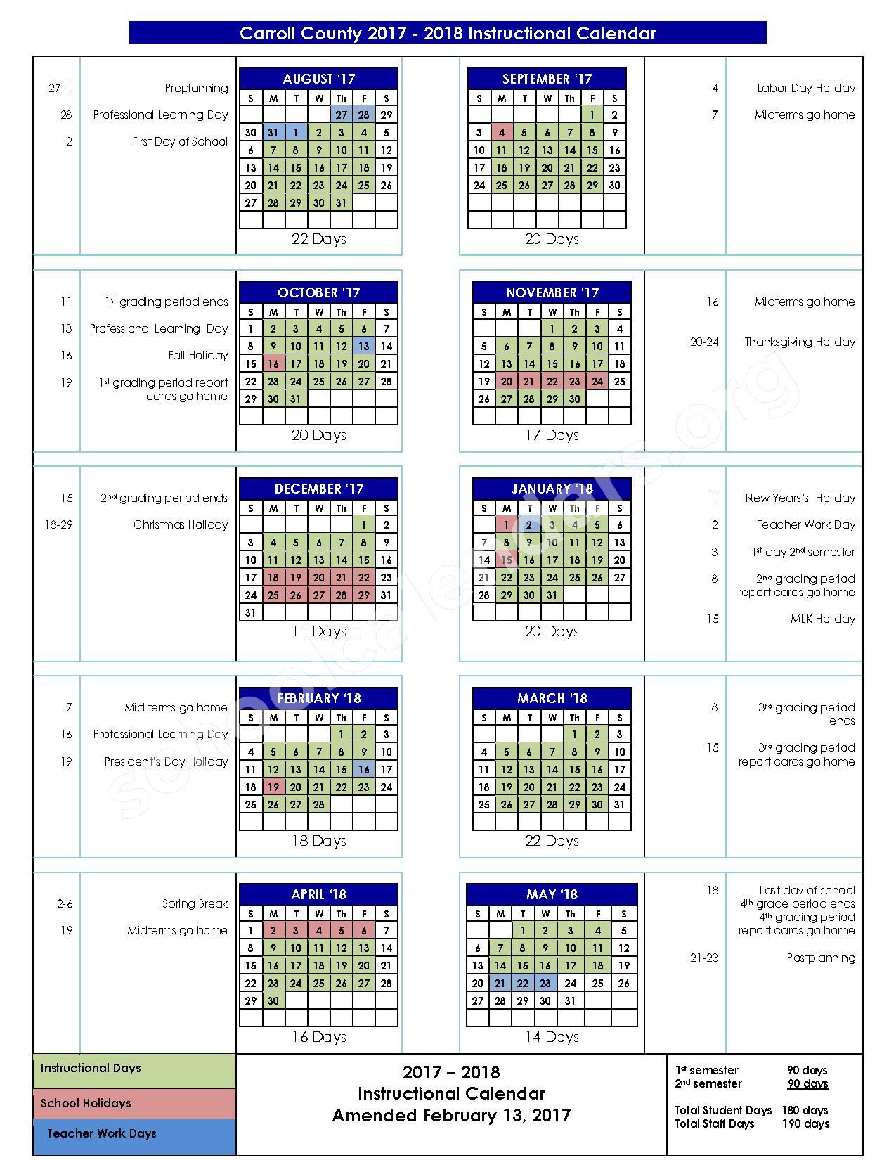 2017 - 2018 School Calendar – Carroll County School District – page 1