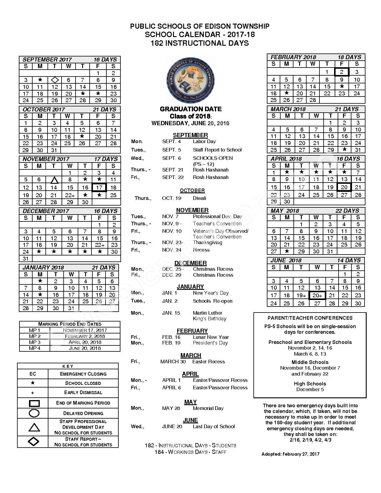 2017 - 2018 School Calendar – Edison Township Public Schools – page 1