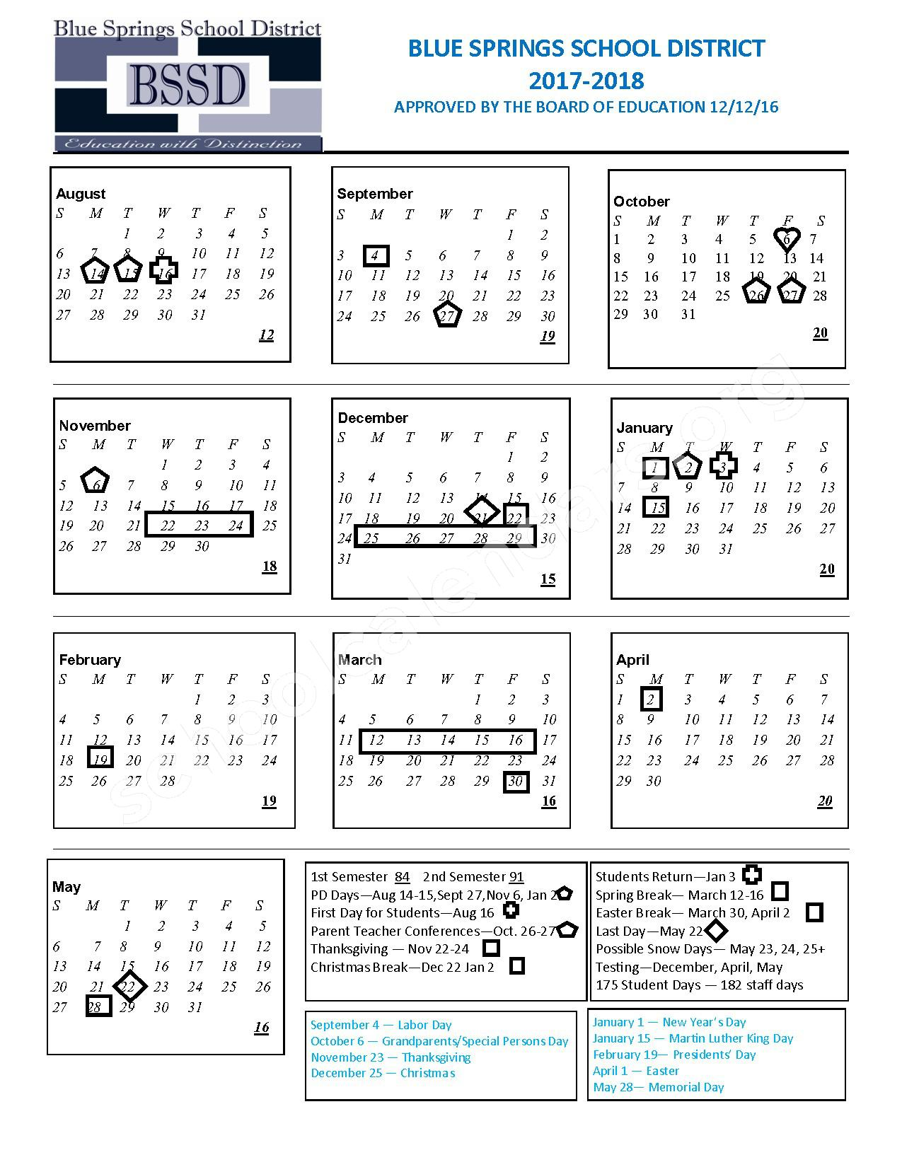 2017 - 2018 Board Approved Calendar – Blue Springs R-IV School District – page 1