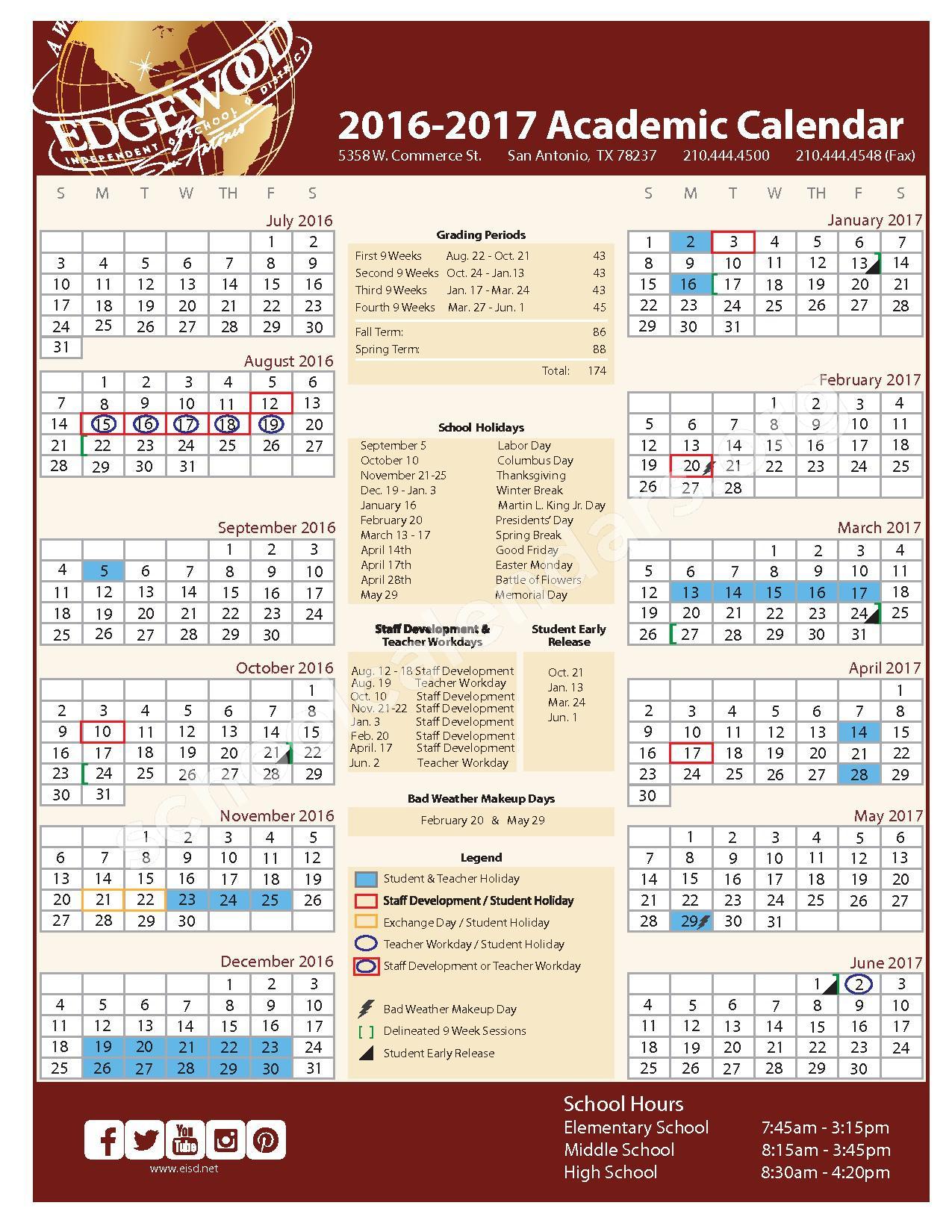 2016 - 2017 School Calendar – Edgewood Independent School District (Bexar County) – page 1