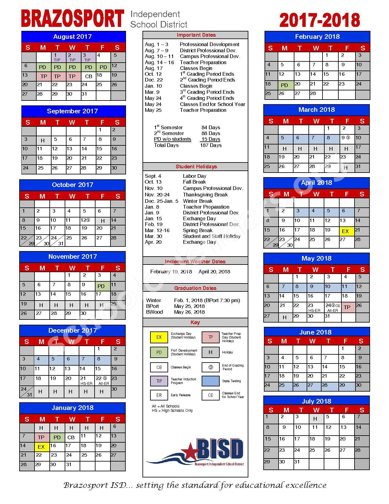 2017 - 2018 School Calendar – Brazosport Independent School District – page 1