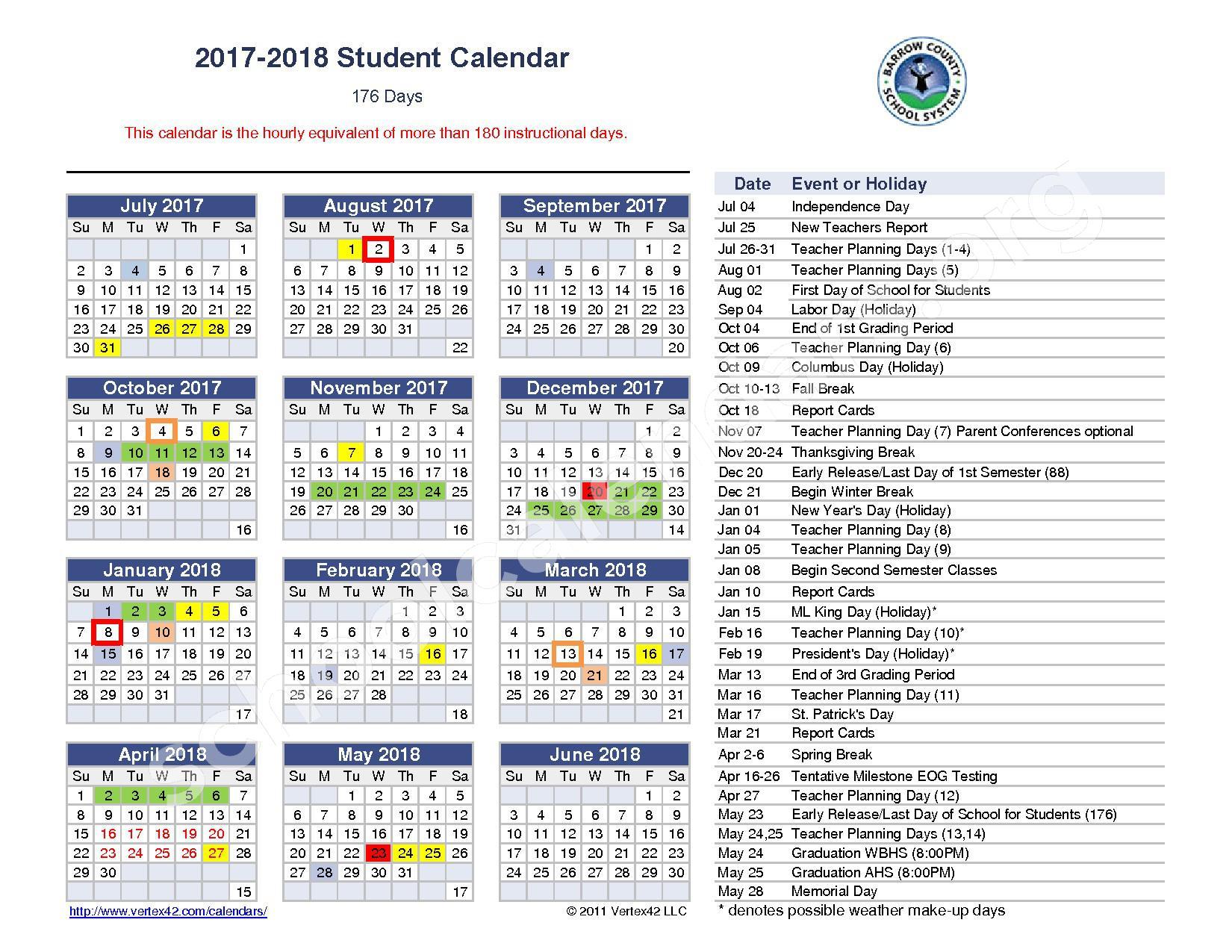 2017 - 2018 Student Calendar – Barrow County School District – page 1