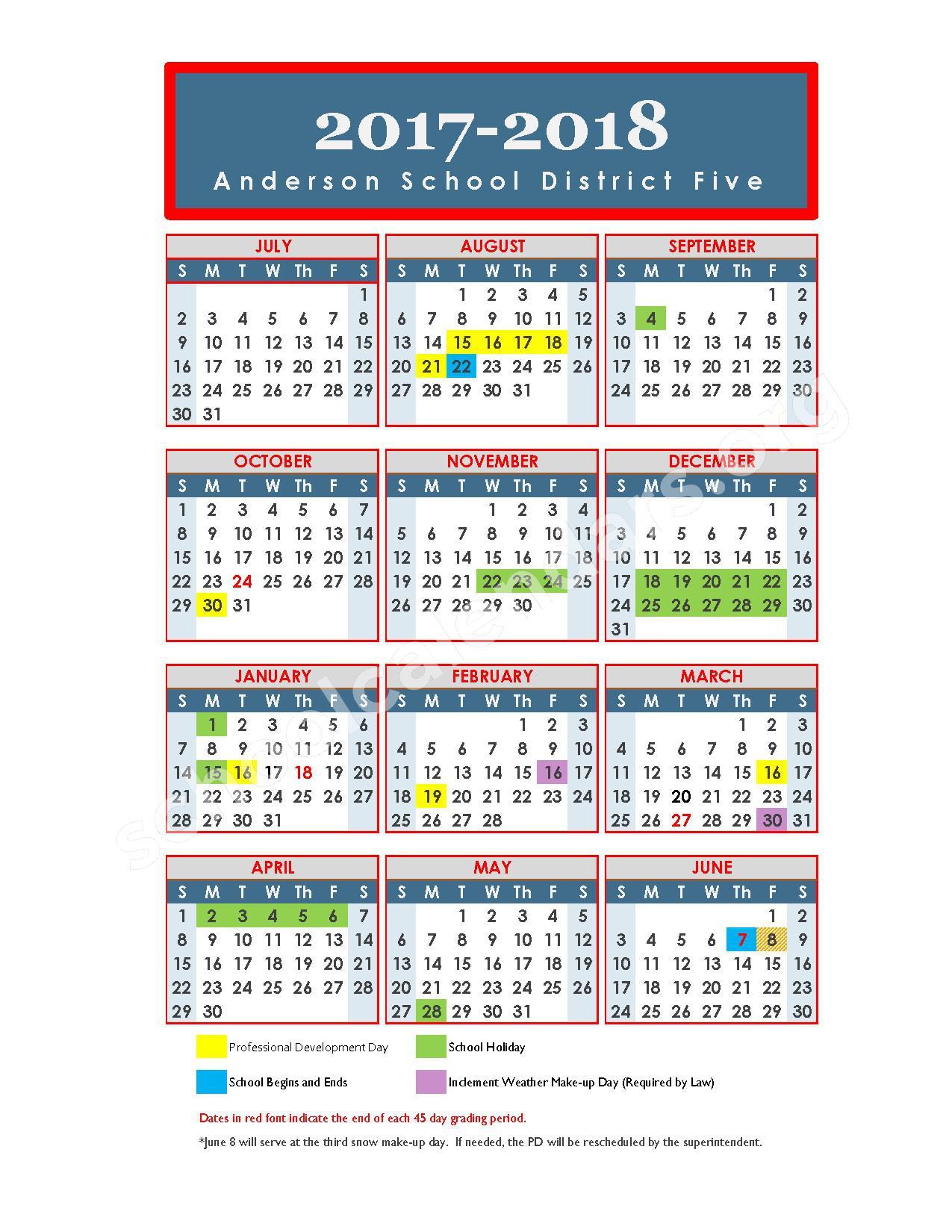 2017 - 2018 School Calendar – Anderson School District 5 – page 1