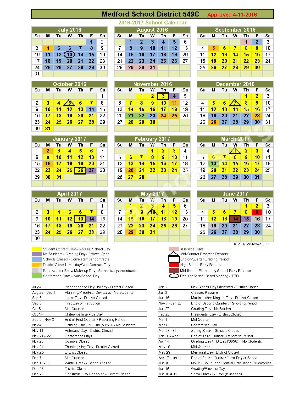 2016 - 2017 District Calendar – Medford School District 549C – page 1