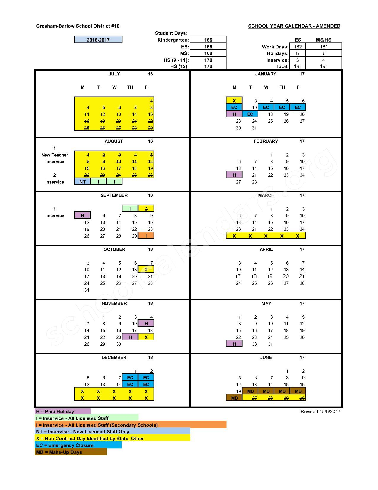 2016 - 2017 District Calendar – Gresham-Barlow School District – page 1