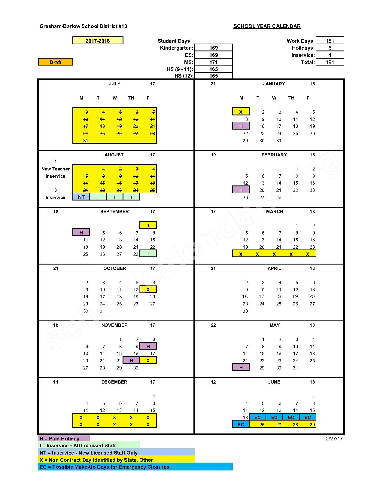 2016 - 2017 District Calendar – Gresham-Barlow School District – page 2