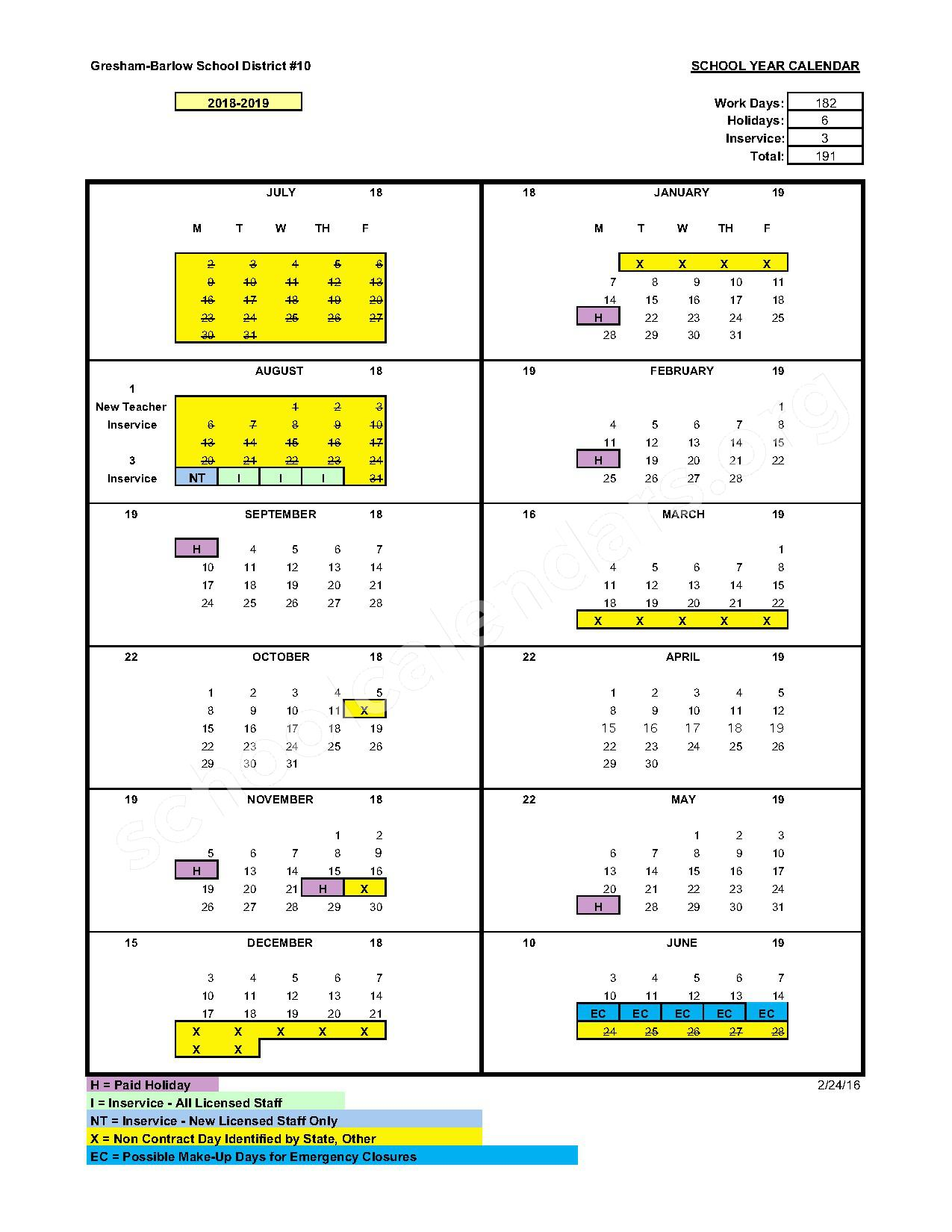 2016 - 2017 District Calendar – Gresham-Barlow School District – page 3