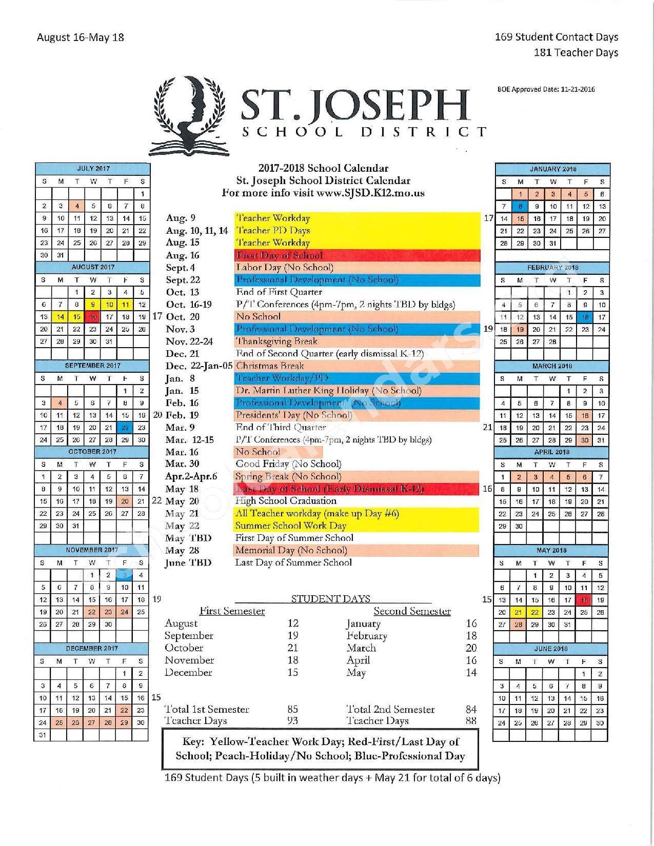 2017 - 2018 Academic Calendar – St. Joseph School District – page 1