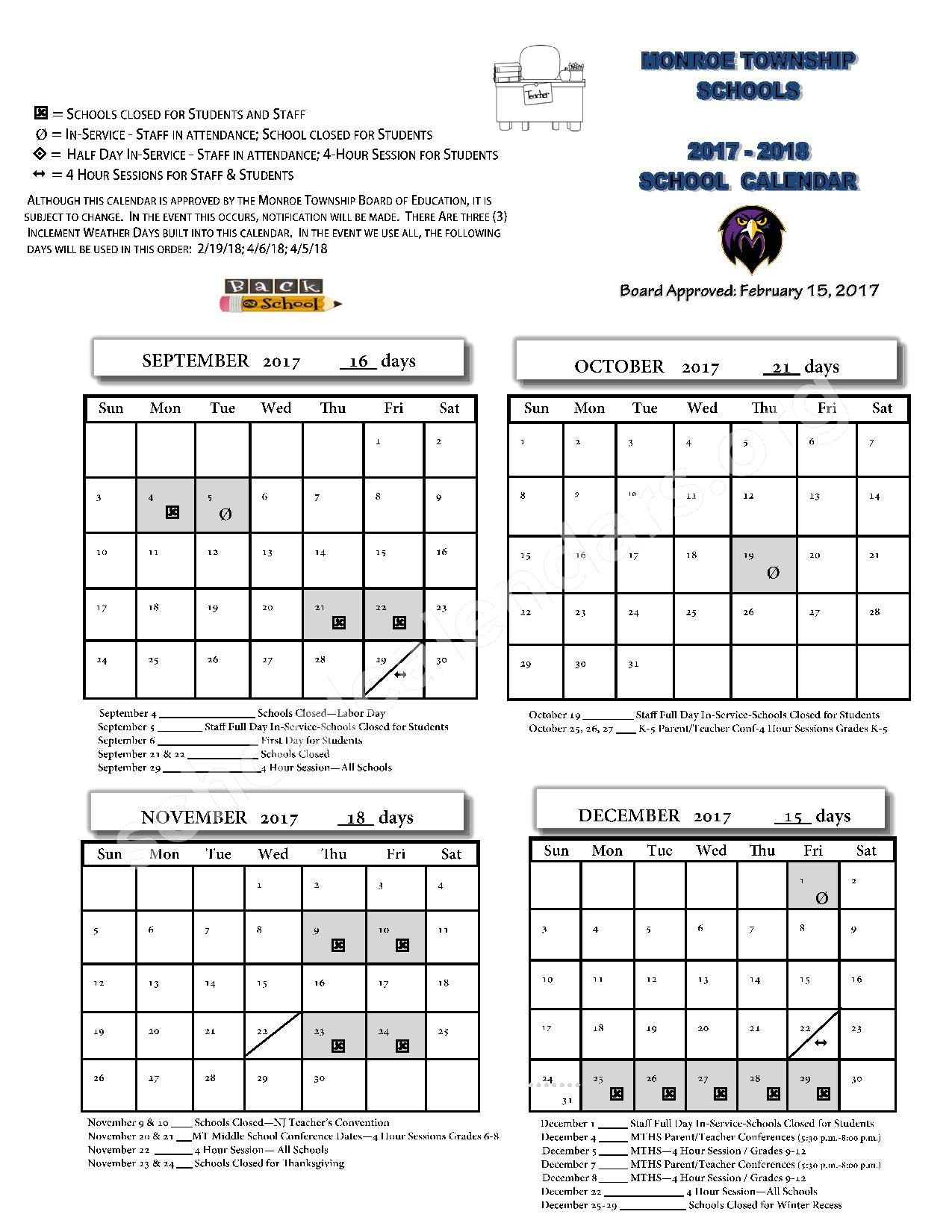 2017 - 2018 School Calendar – Monroe Township School District – page 1