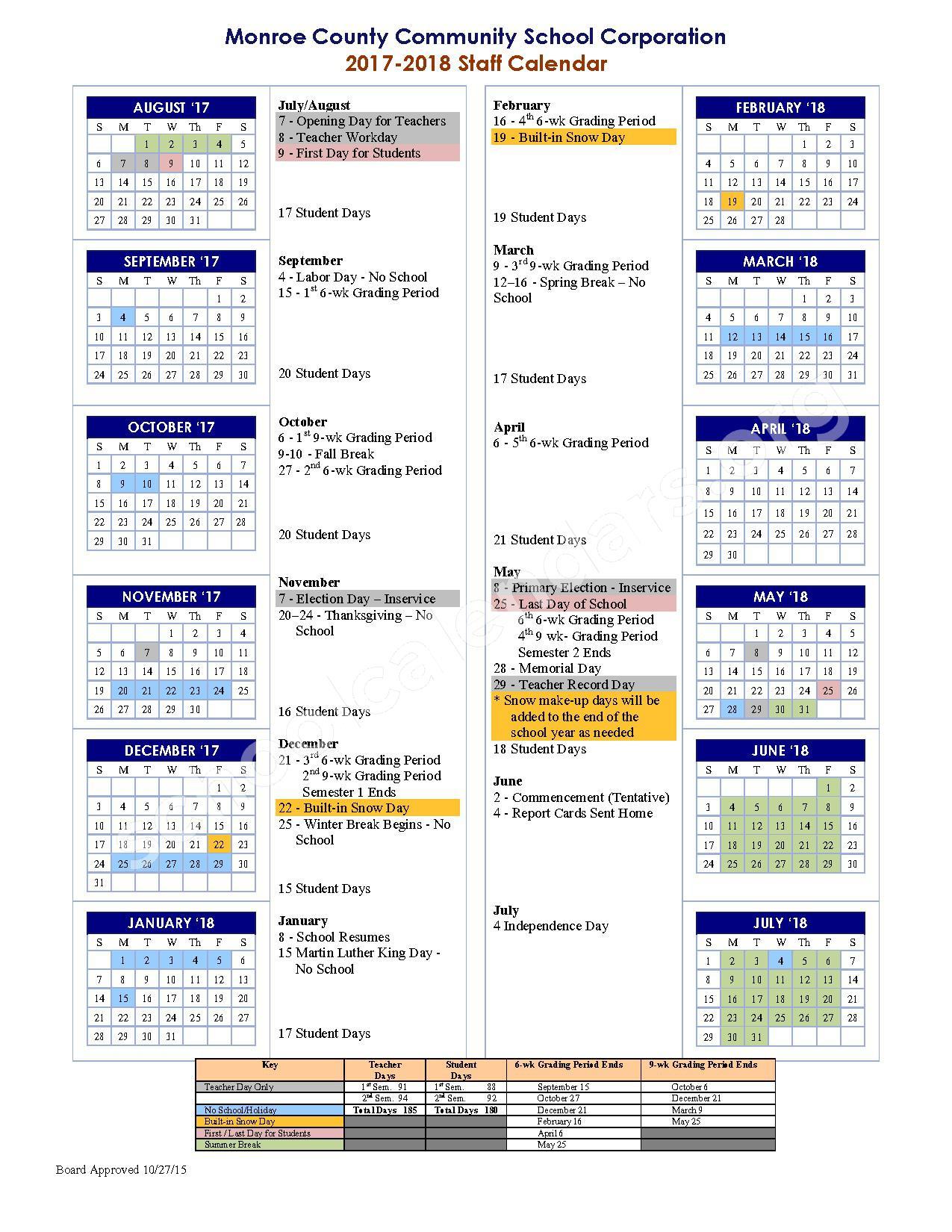 2017 - 2018 School Calendar – Monroe County Community School Corporation – page 1