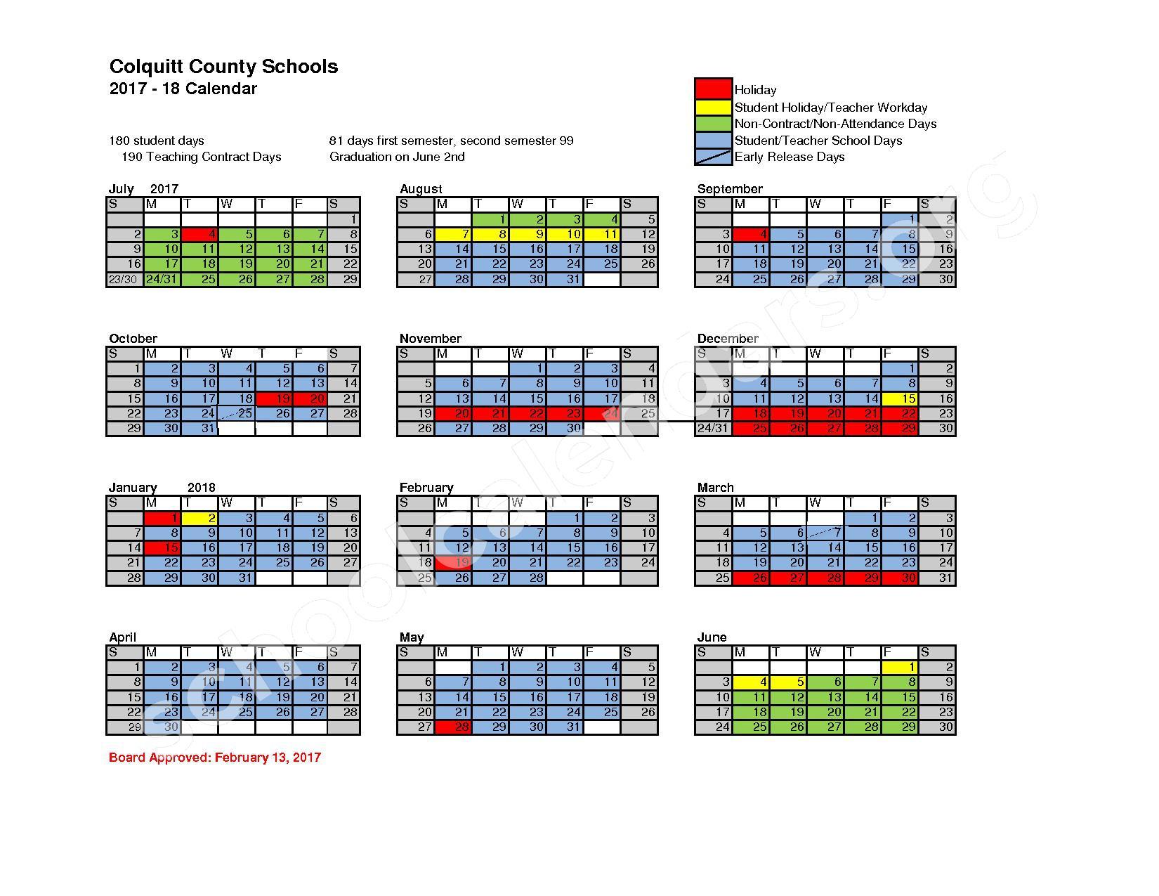 2017 - 2018 District Calendar – Colquitt County School District – page 1