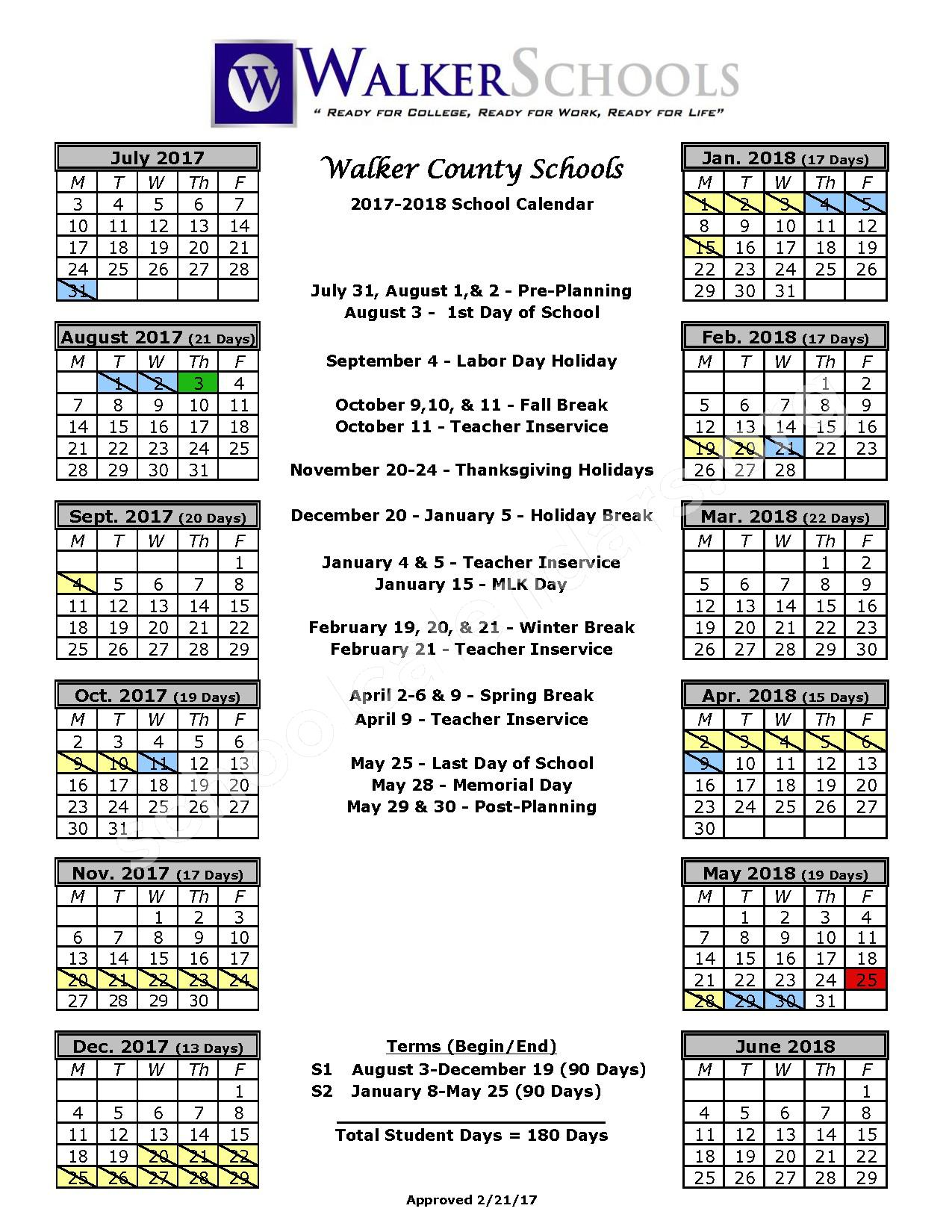 2017 - 2018 Student Calendar – Walker County School District – page 1