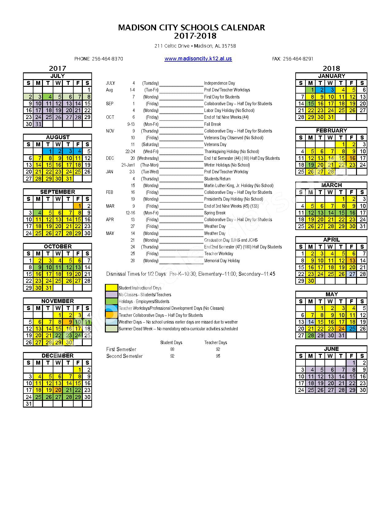 2017 - 2018 District Calendar – Madison City Schools – page 1