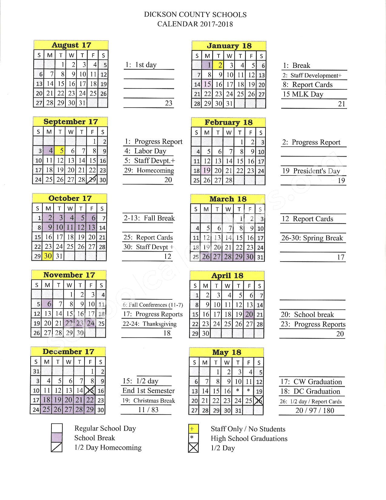 2017 - 2018 District Calendar – Dickson County Schools – page 1