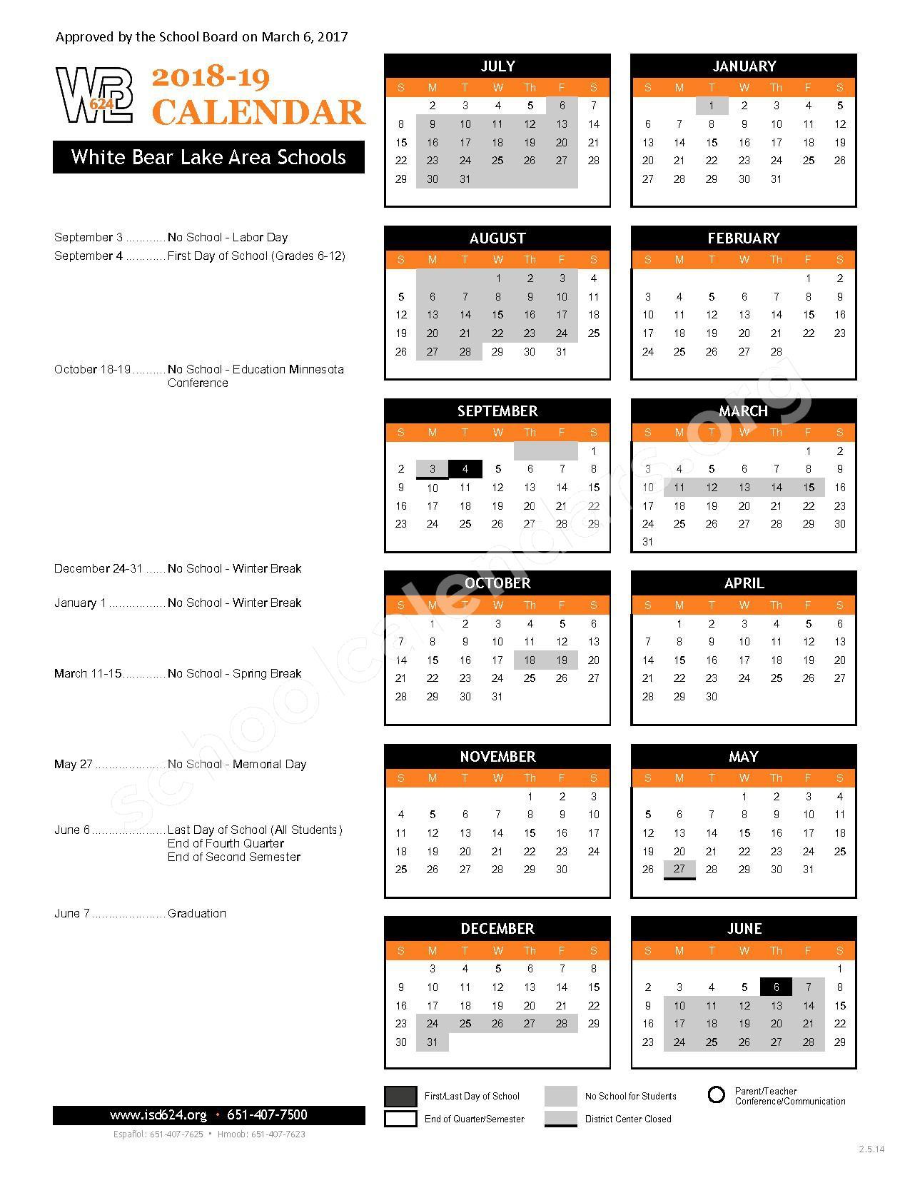 2018 - 2019 District Calendar – White Bear Lake School District – page 1